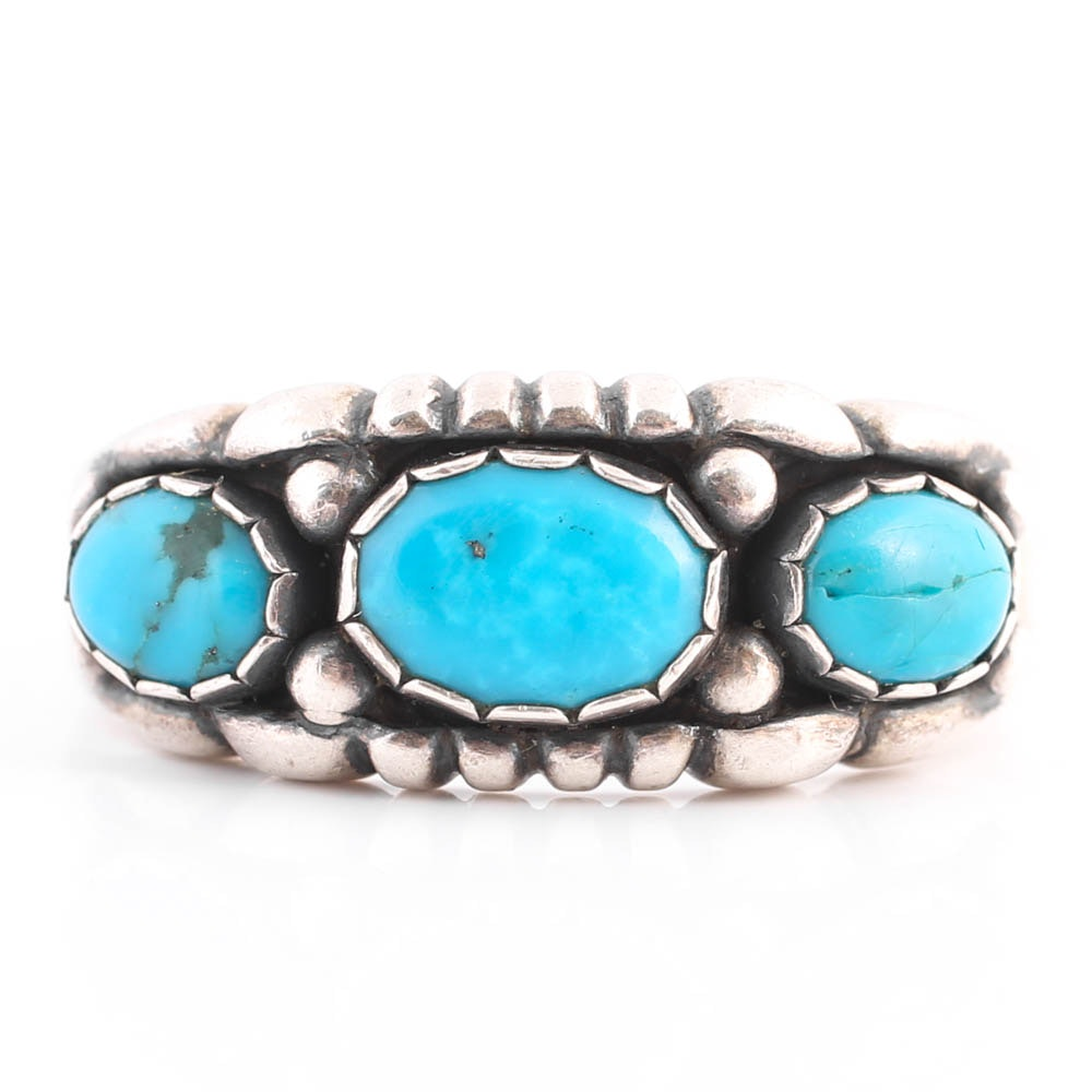 Sterling Silver Three-Stone Turquoise Ring