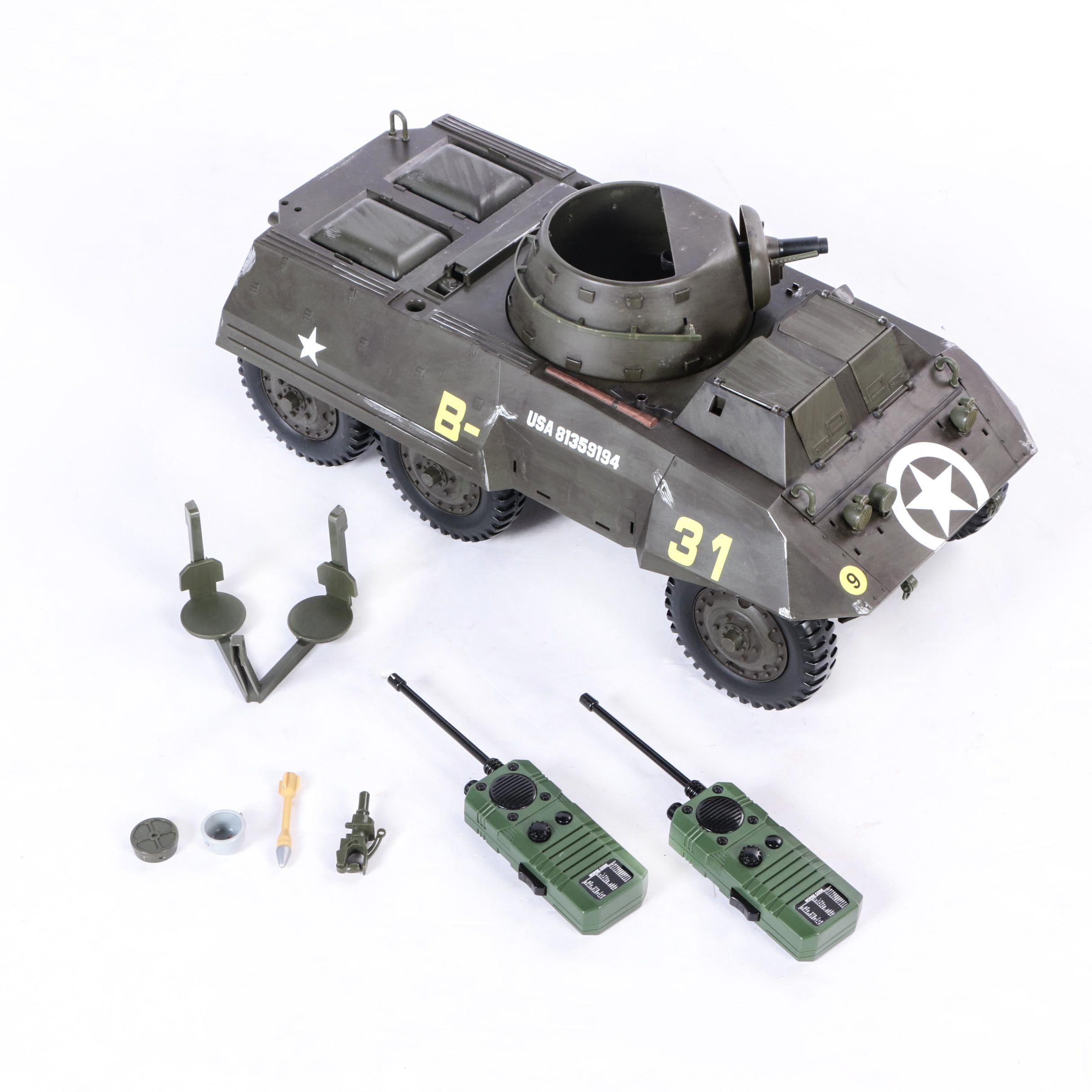 G.I. Joe WWII M8 Light Armored Car and Walkie Talkies