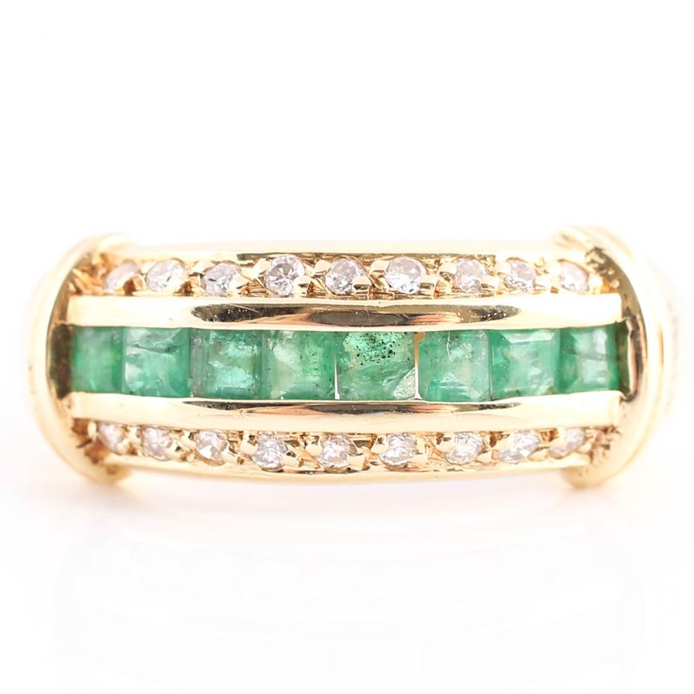 14K Yellow Gold Emerald and Diamond Three-Row Band