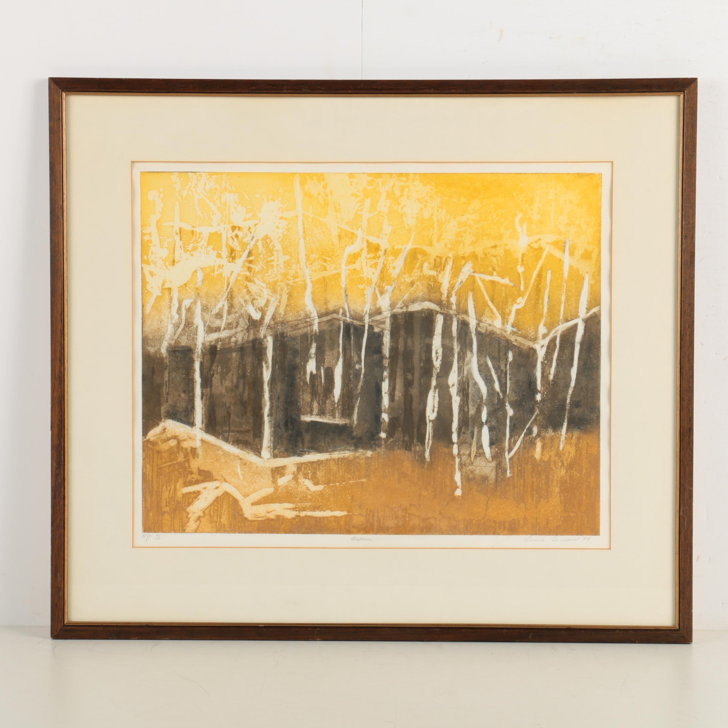 "1974 Louise Bernard Color Etching with Aquatint ""Aspen"""