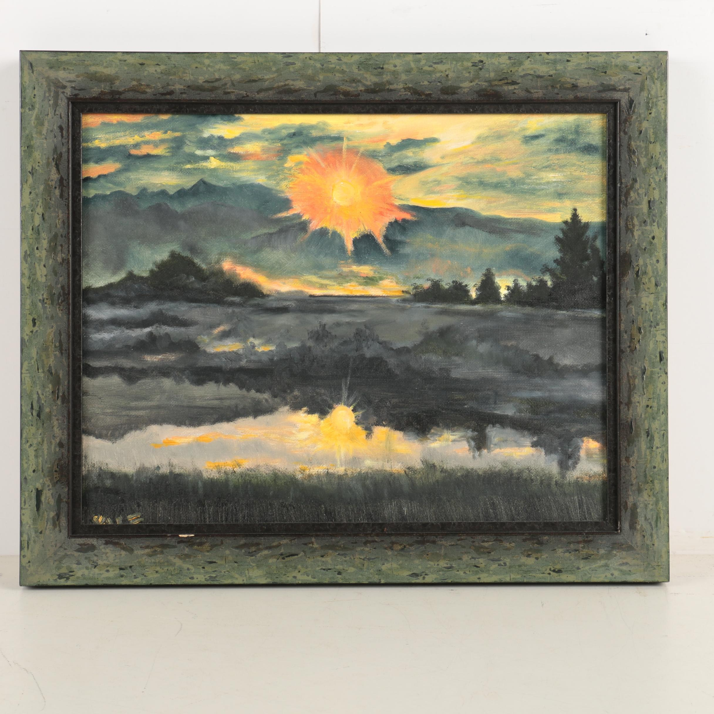 Signed Oil on Canvas Board Landscape Painting of a Sunset