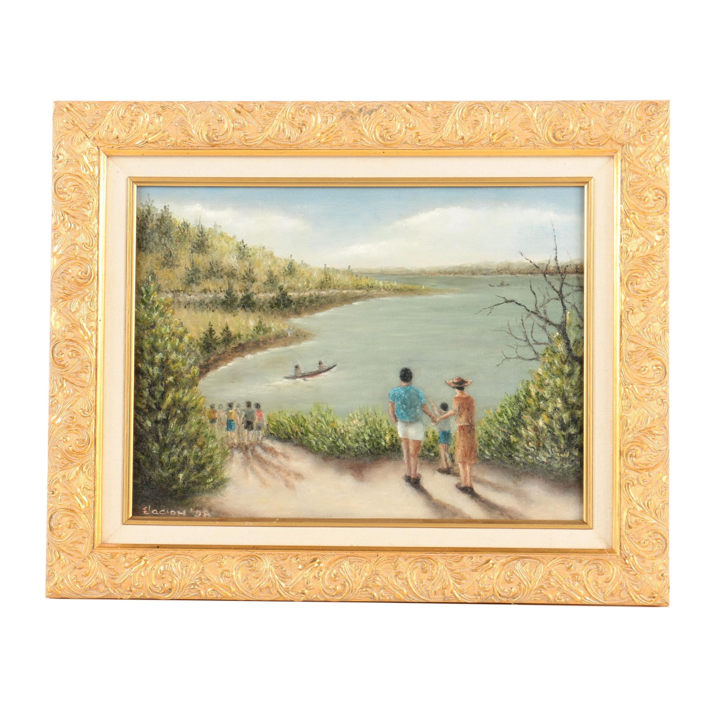 Anthony S. Elacion Oil Painting on Canvas of a Lake Scene