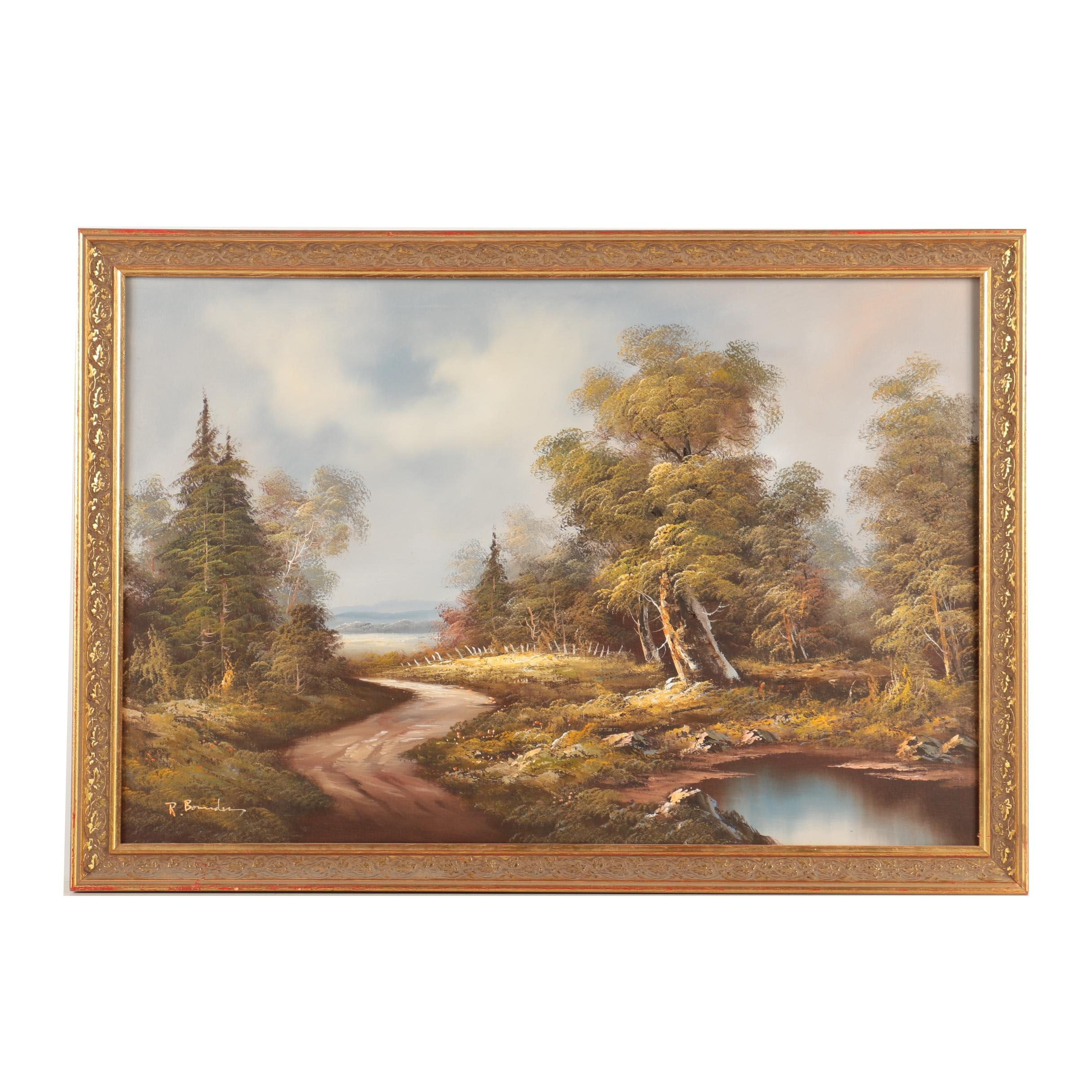 R. Bownder Oil Painting on Canvas of a Wooded Landscape