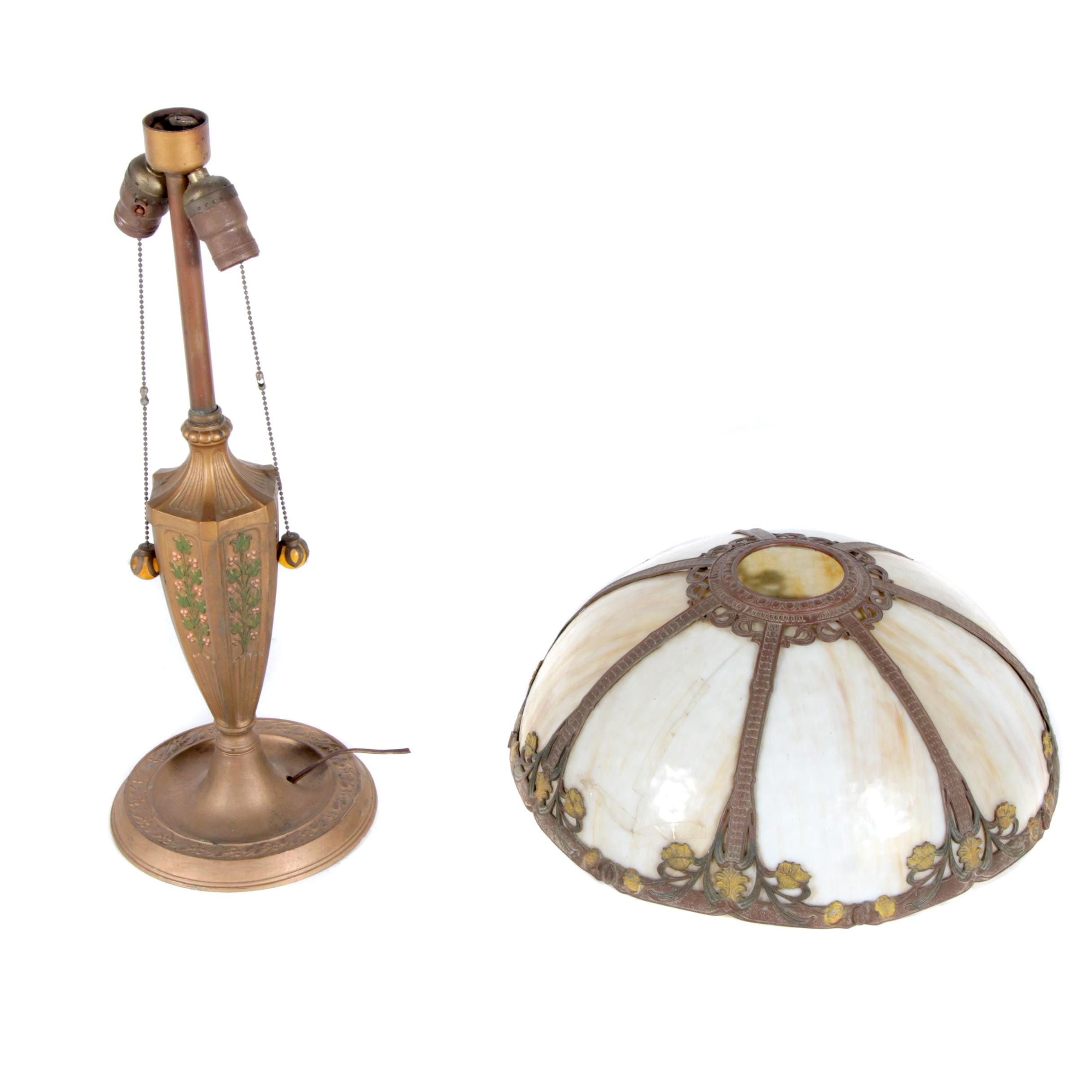 Solid Brass Lamp and Glass Shade