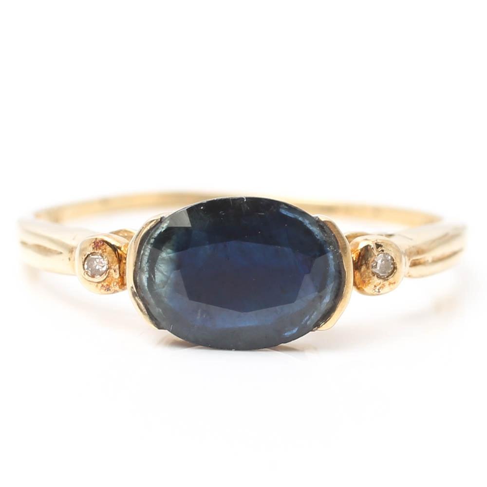 10K Yellow Gold Half Bezel Set Sapphire and Diamond Ring