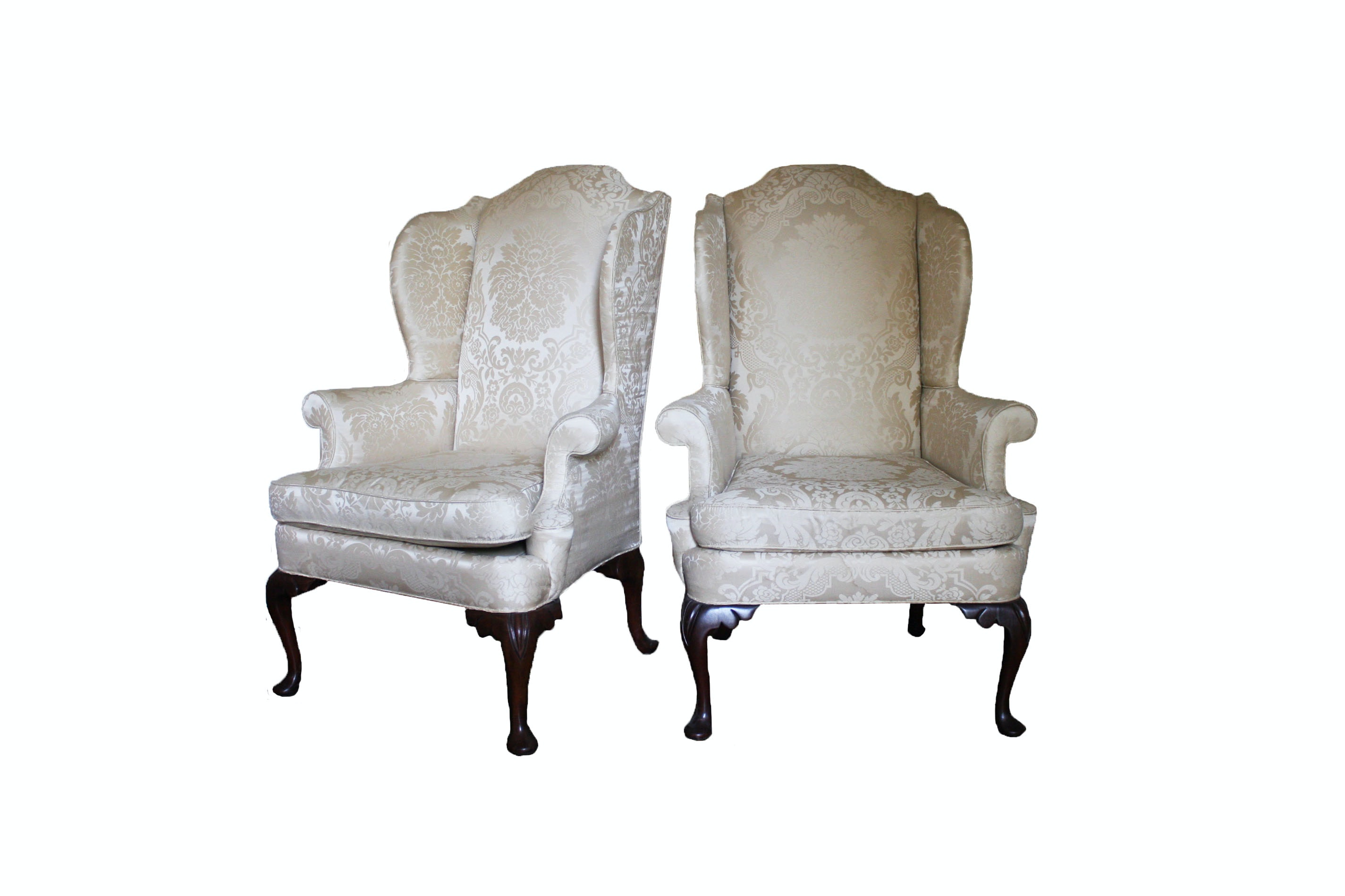 Pair Of Queen Anne Style Wingback Chairs By Hickory Chair ...