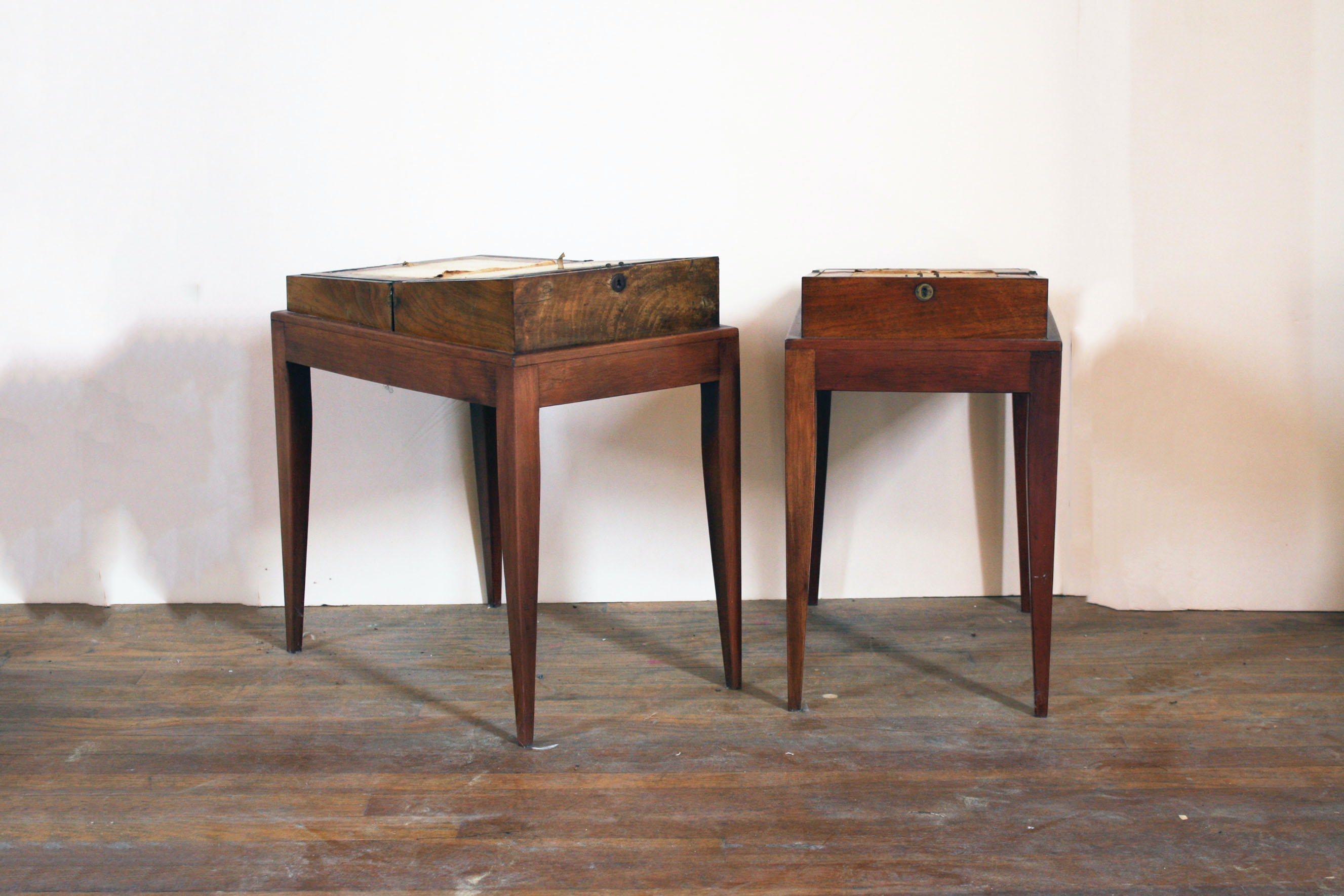 Pair of Antique Travel Writing Desks on Stands