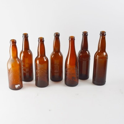 Vintage Amber Glass Bottles
