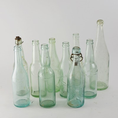 Vintage Green Glass Bottles
