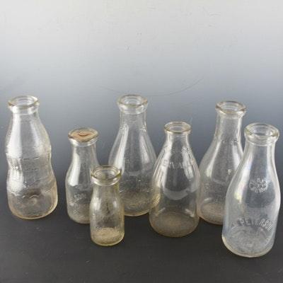 Vintage Glass Milk Bottles