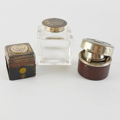 Silver Plate, Leather and Glass Inkwells