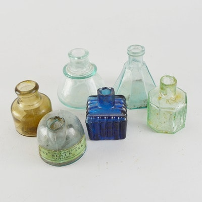 Six Vintage Glass Inkwells