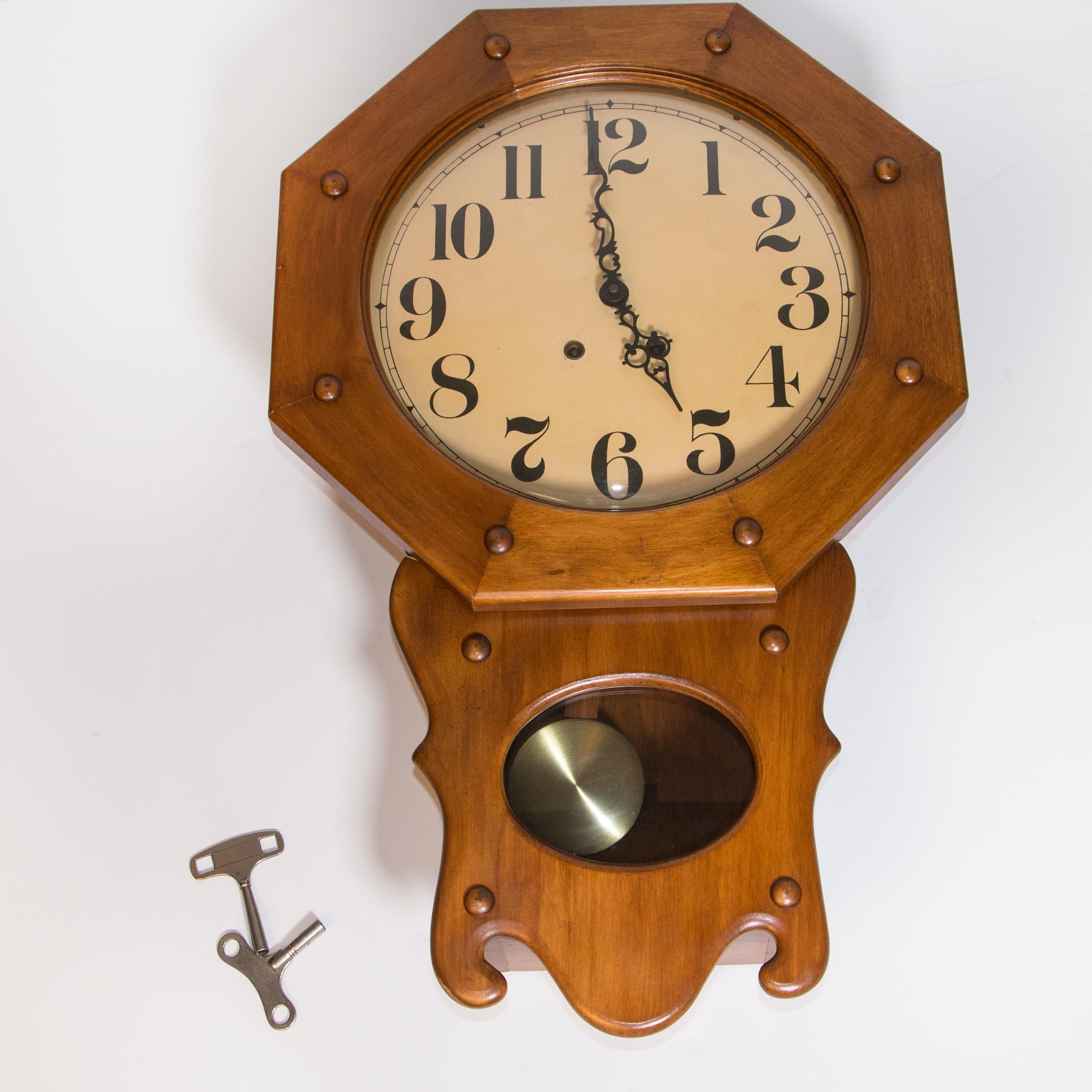 Wooden Octagon Regulator Wall Clock