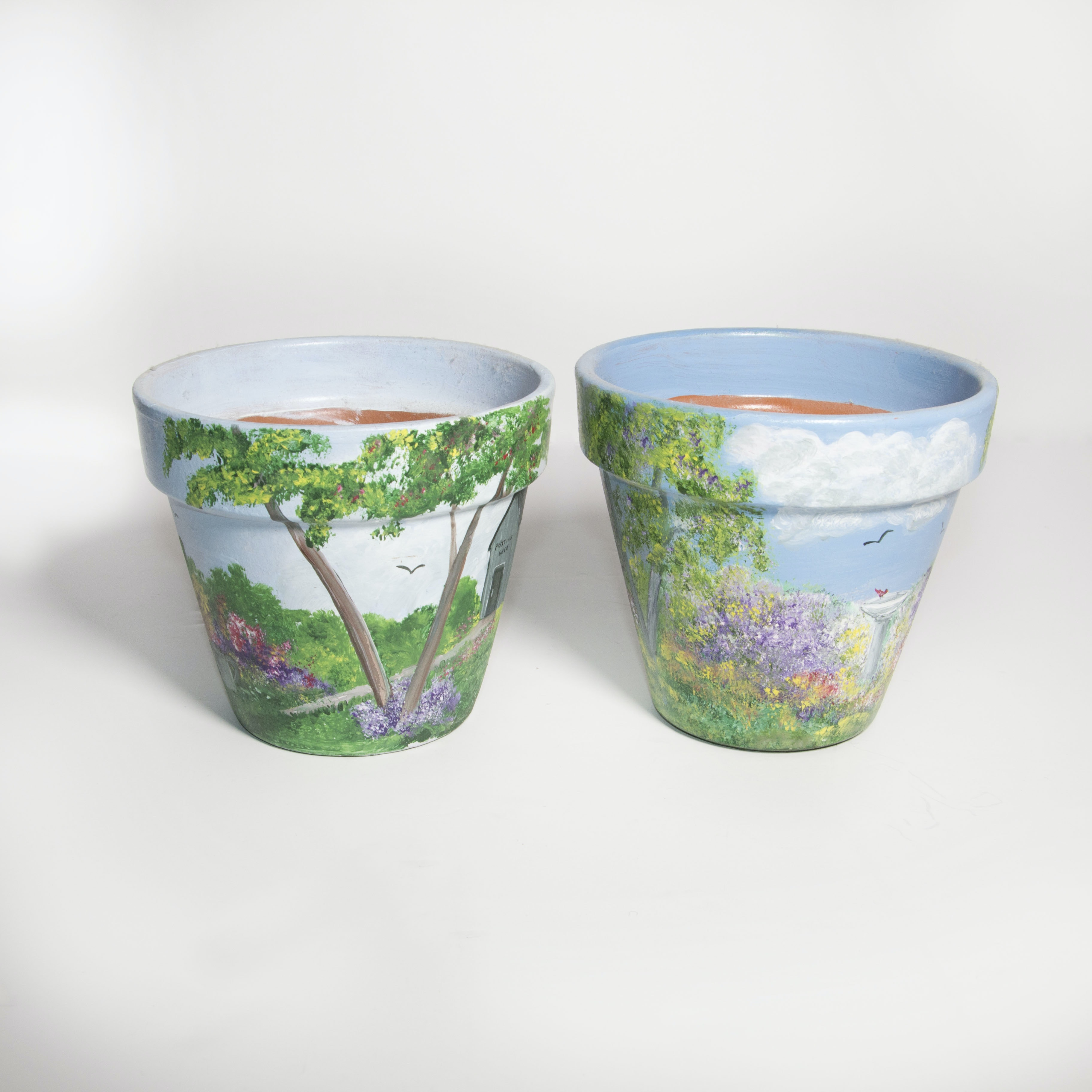 Mary Jo Hause Hand-Painted Terracotta Flower Pots