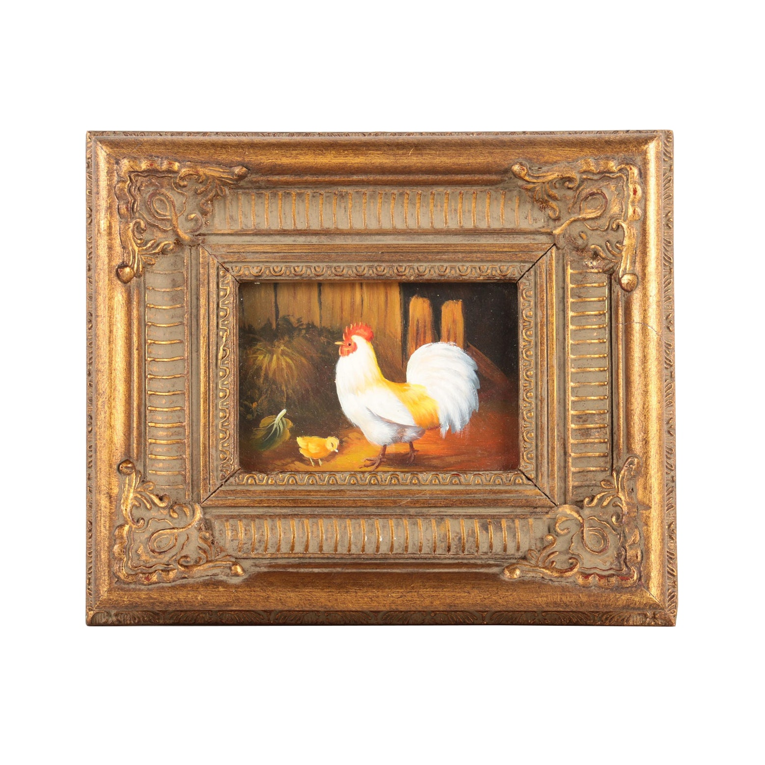 Oil Painting on Board of Rooster and Chick