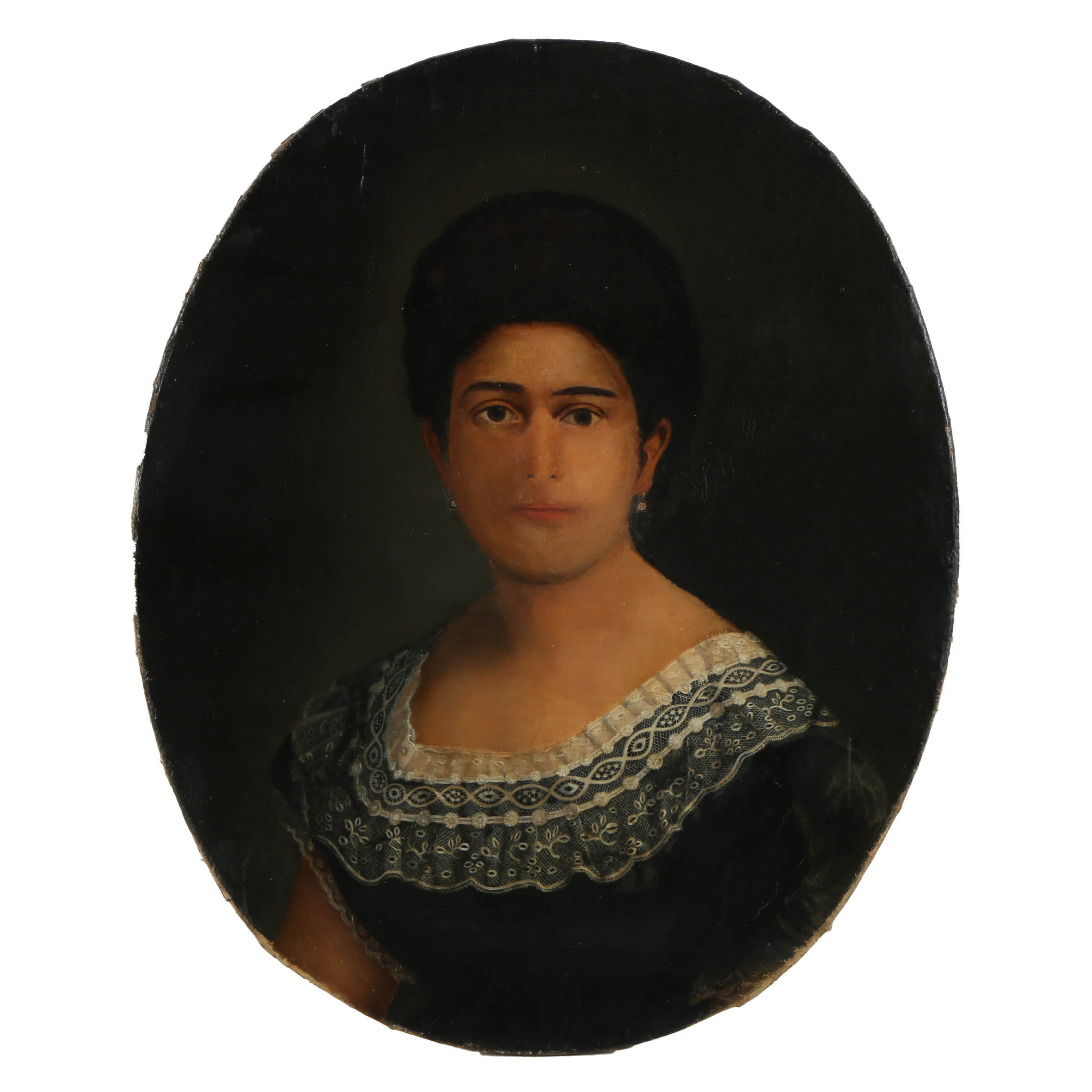 Early 19th-Century Oil Painting on Canvas Oval Portrait of a Woman