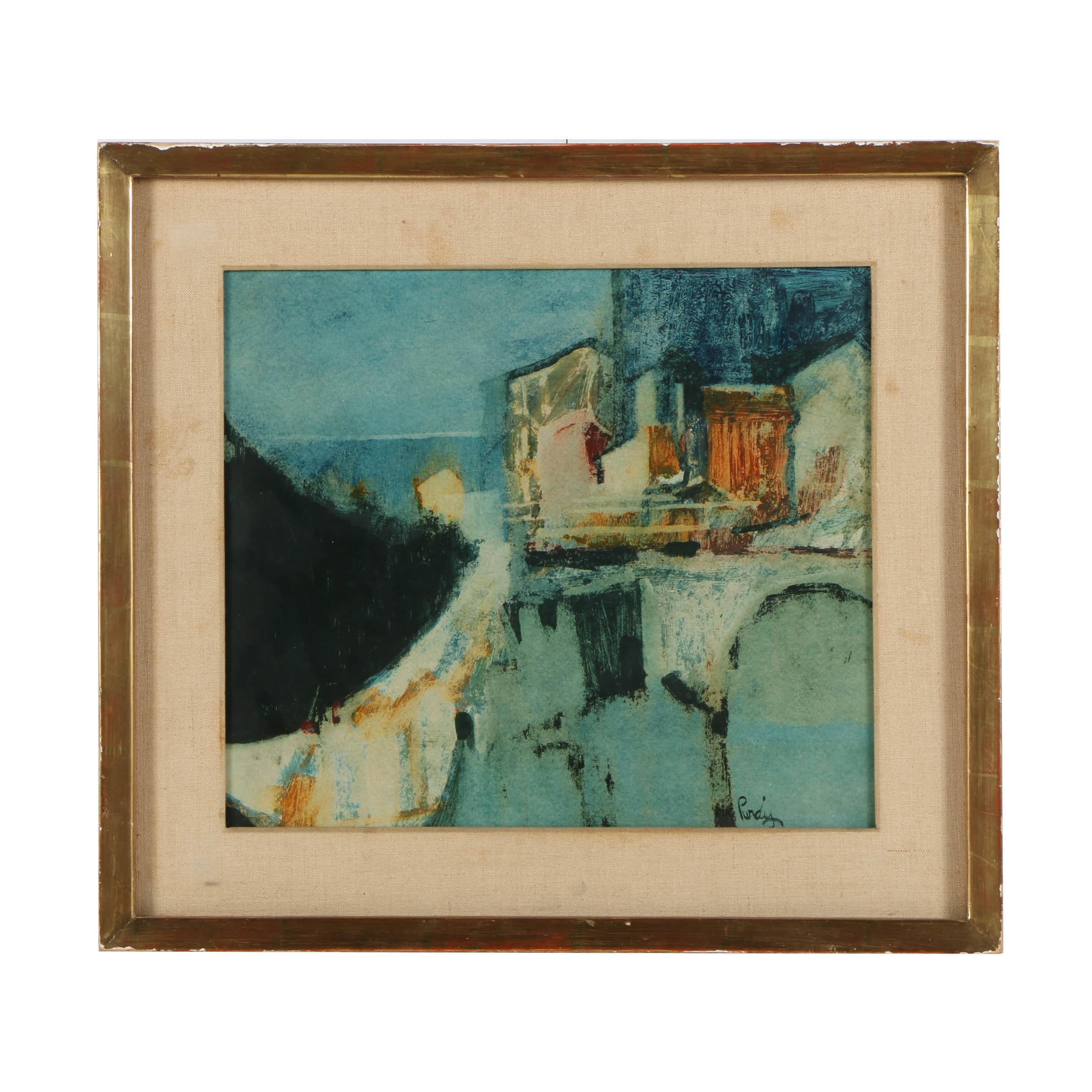 Donald Purdy Oil Painting on Board Abstract Architectural Scene