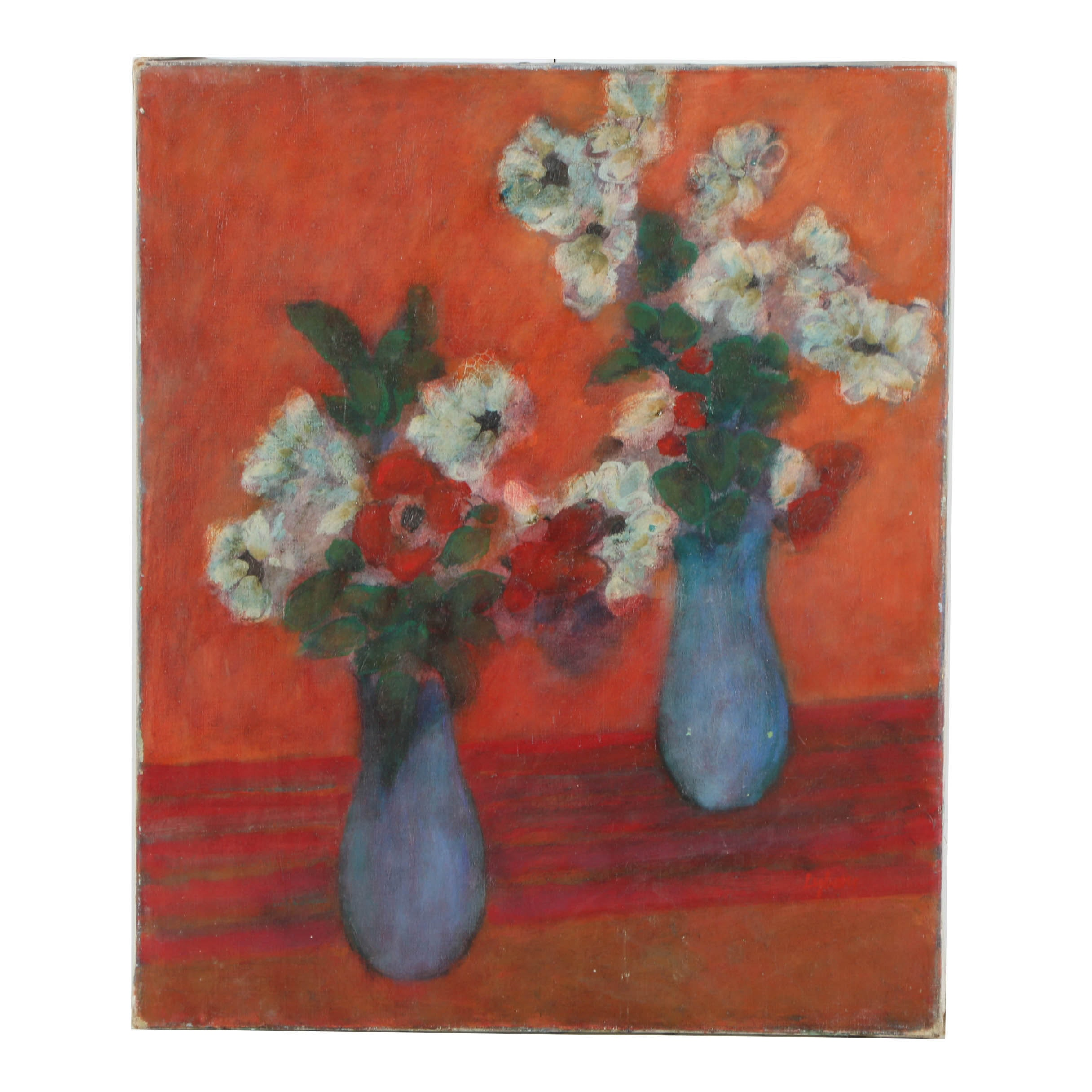 William Lyberis Oil Painting on Canvas Floral Still Life