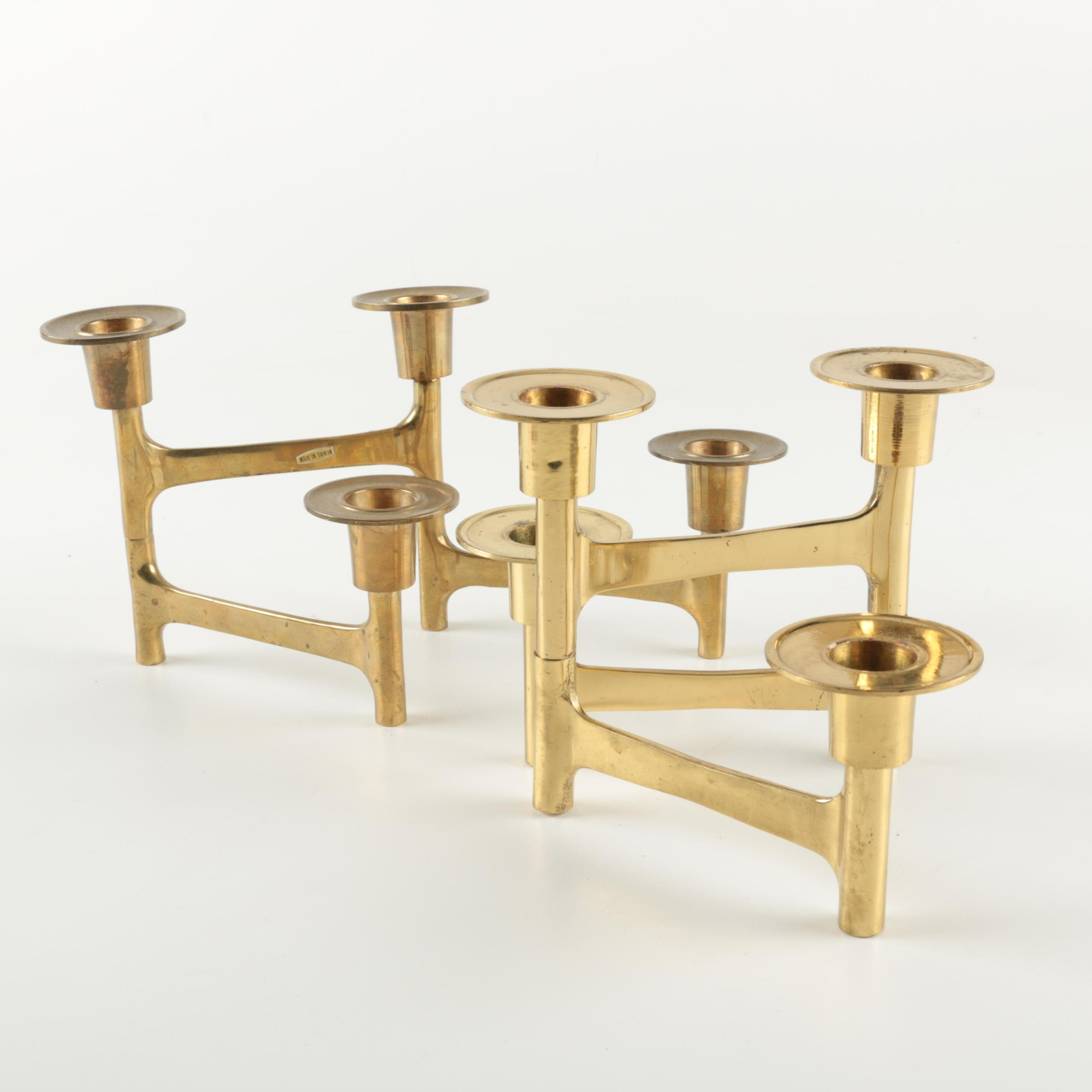 Pair of Mid Century Brass-Toned Candle Holders
