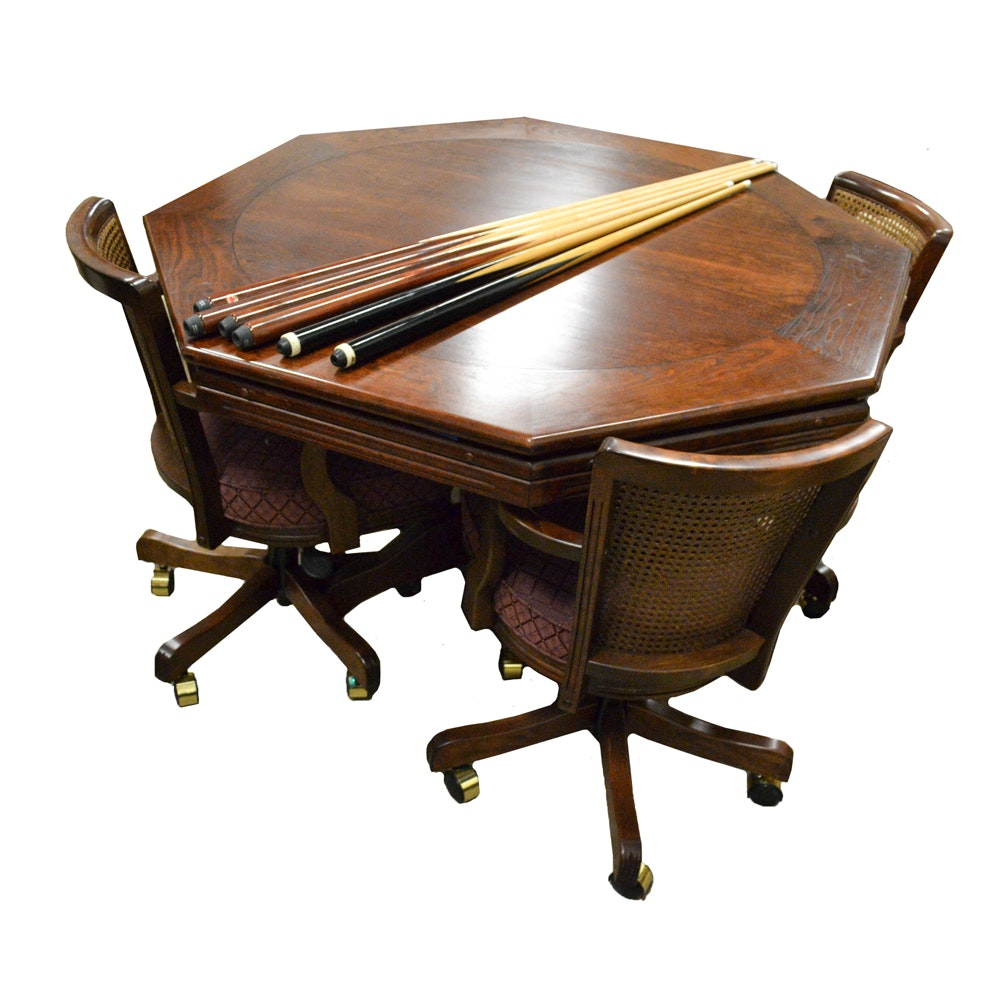 Game Table with Chairs and Pool Cues