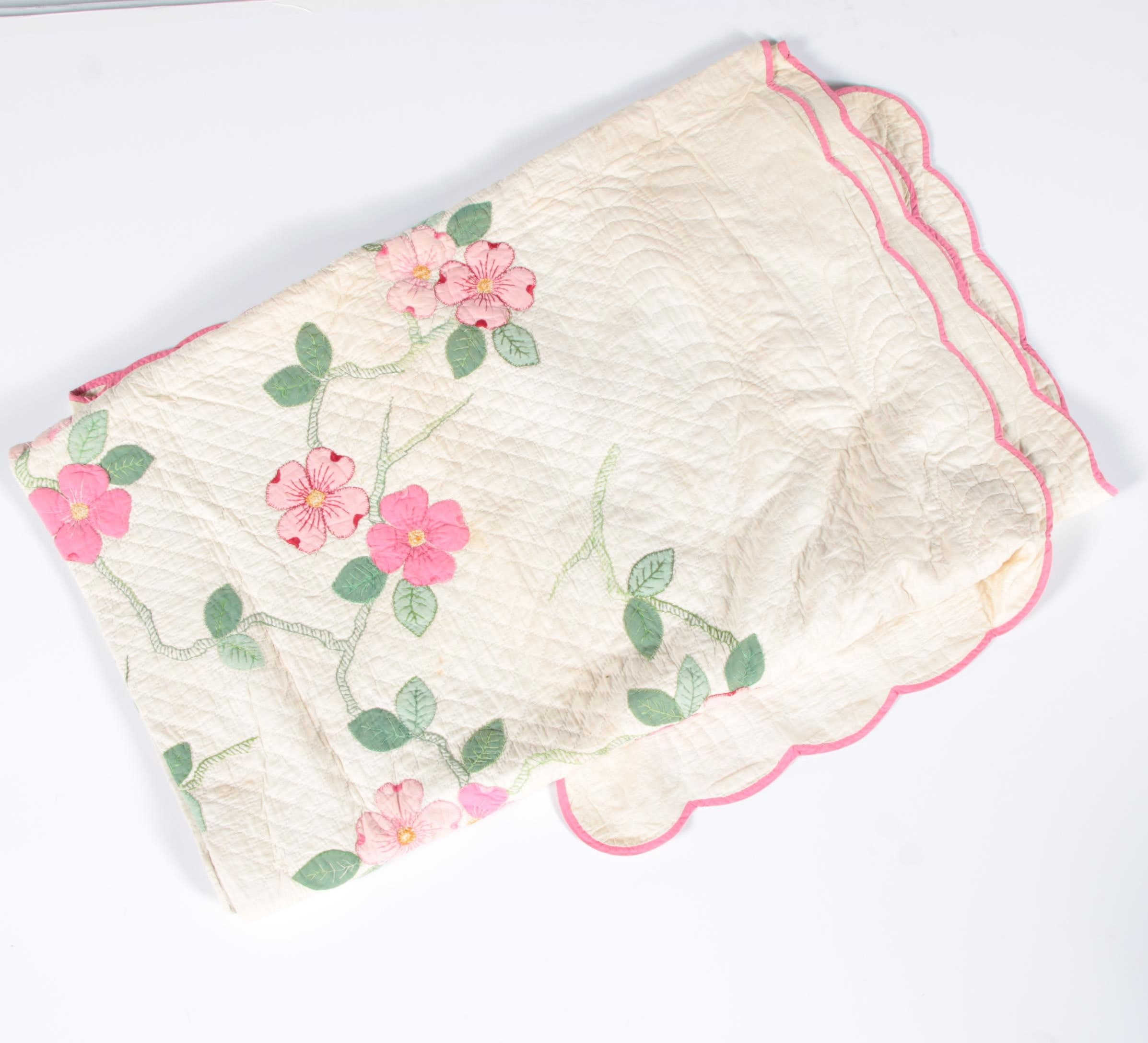Hand Stitched Floral Appliqué and Embroidered Coverlet