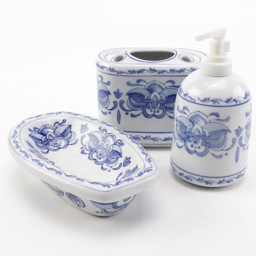 Blue Floral Motif Porcelain Bathroom Set : EBTH