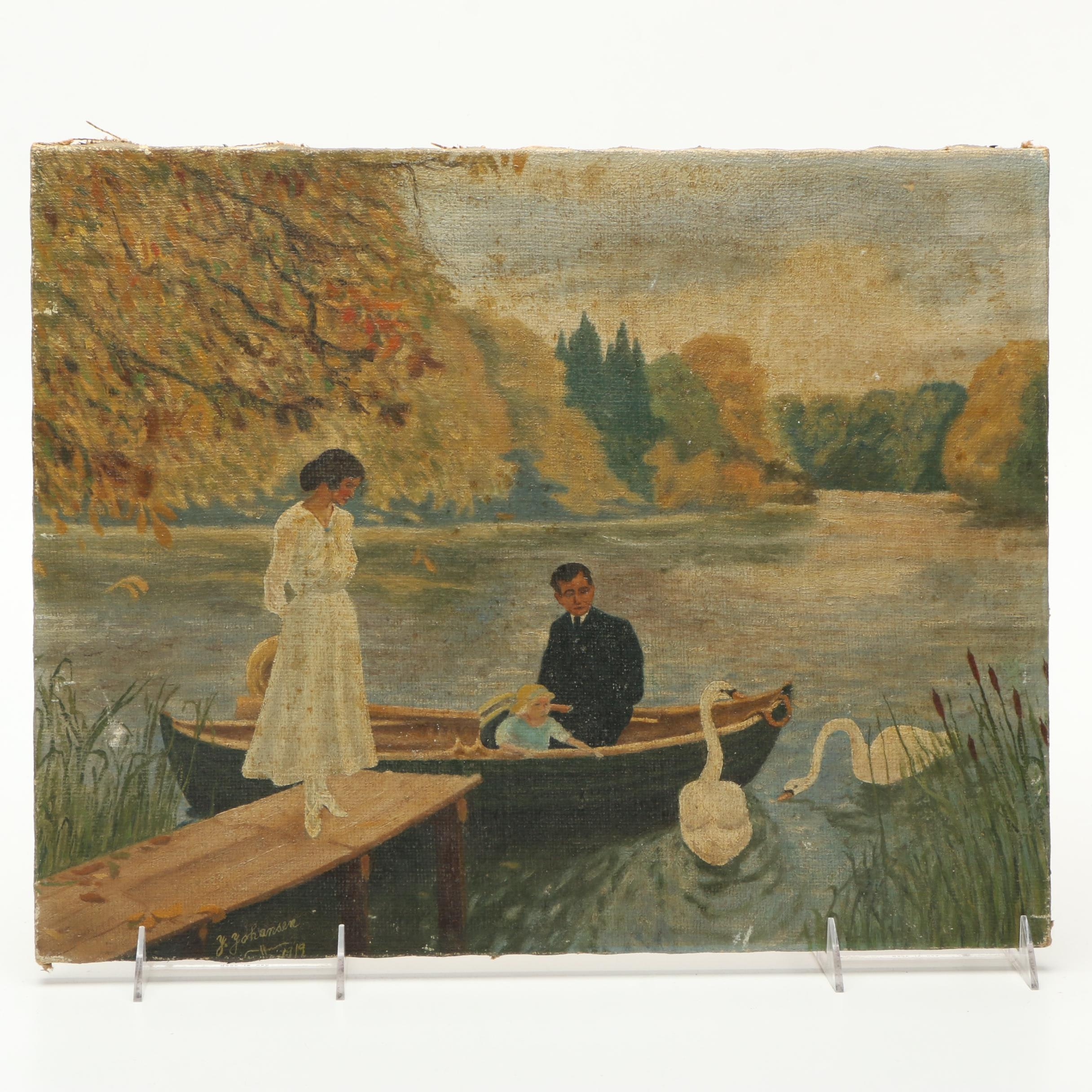 Manner of J. Johansen 1919 Oil on Canvas of Family on Lake with Swans