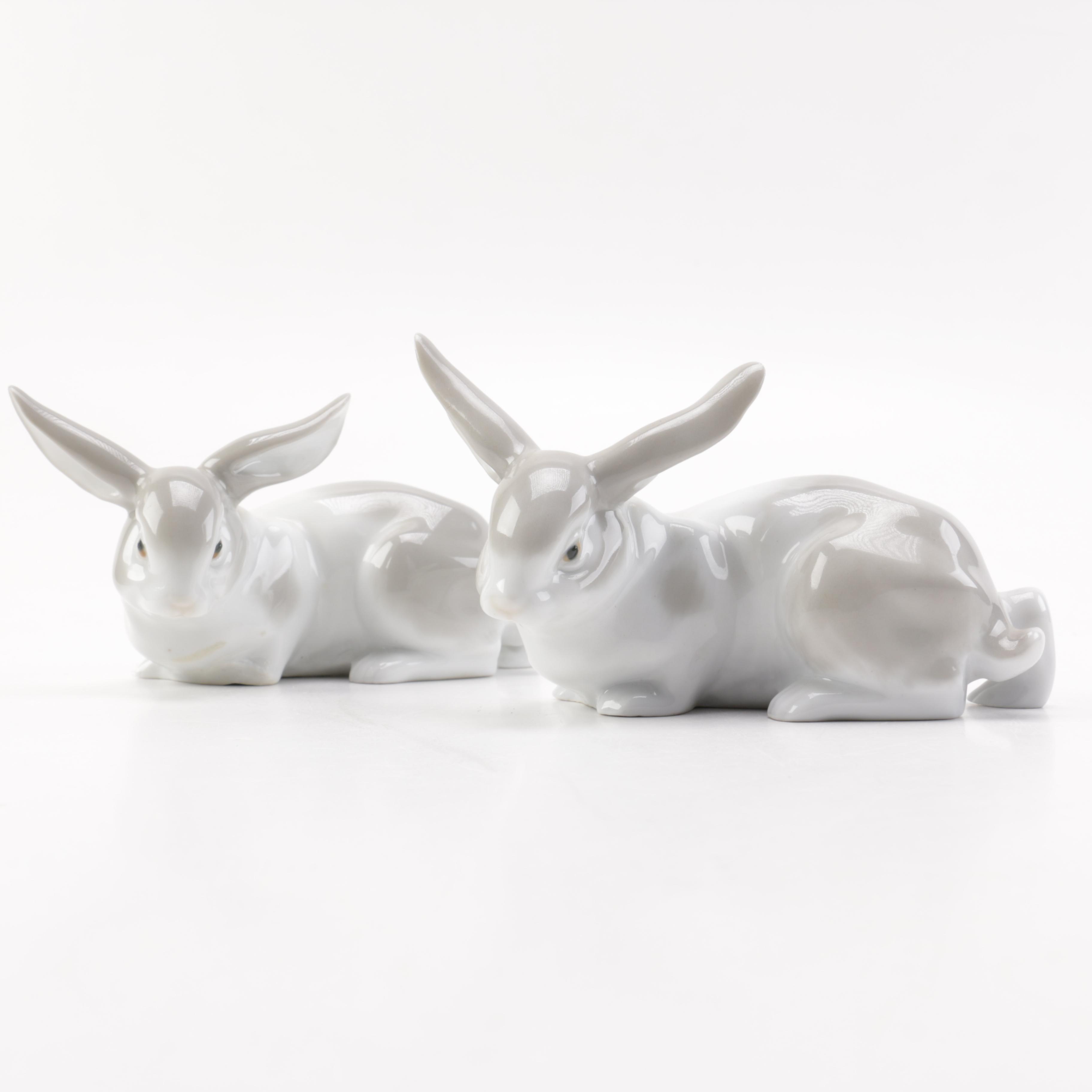Pair of Ceramic Rabbit Figurines