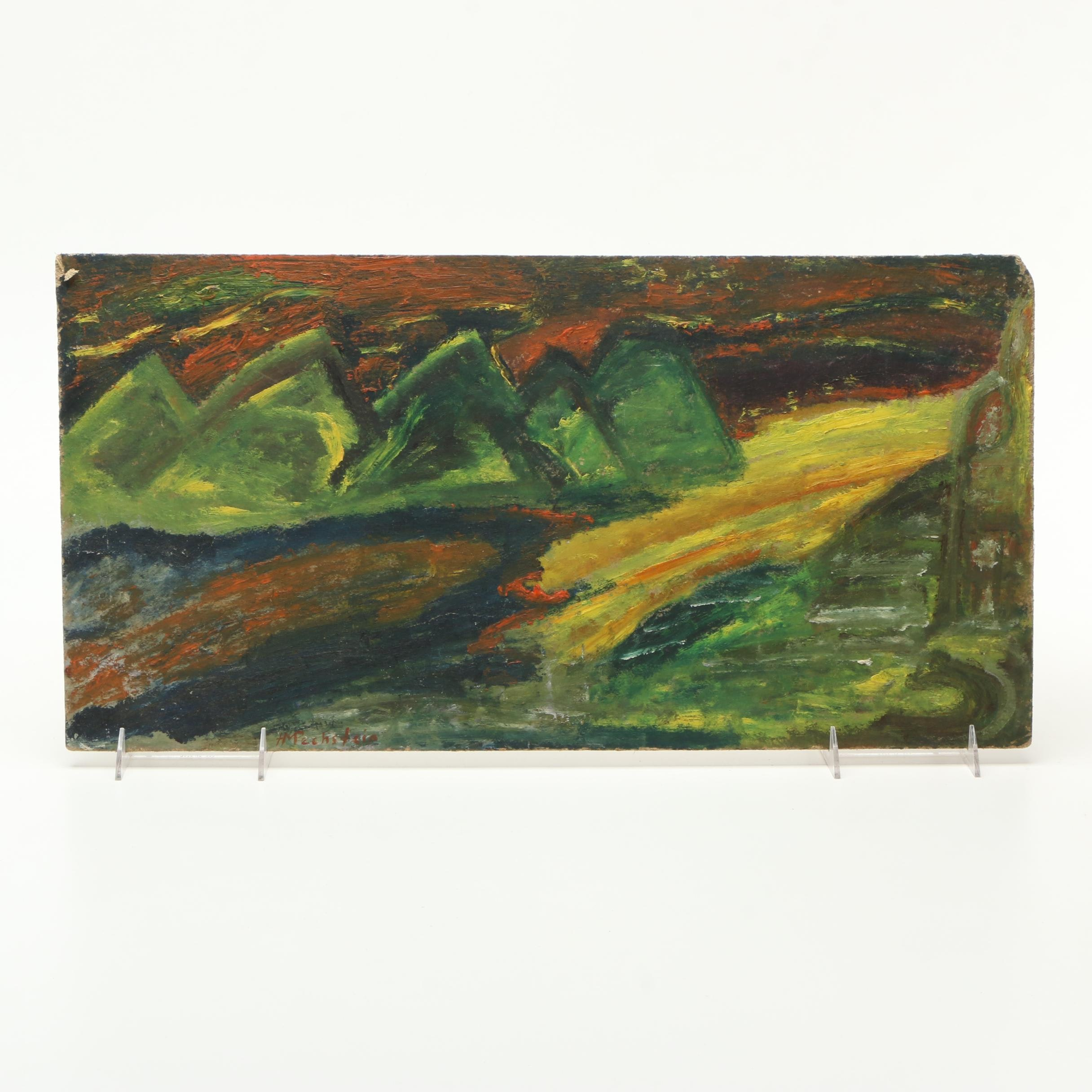 Abstract Oil Painting of Mountains in the Manner of Max Herman Pechstein