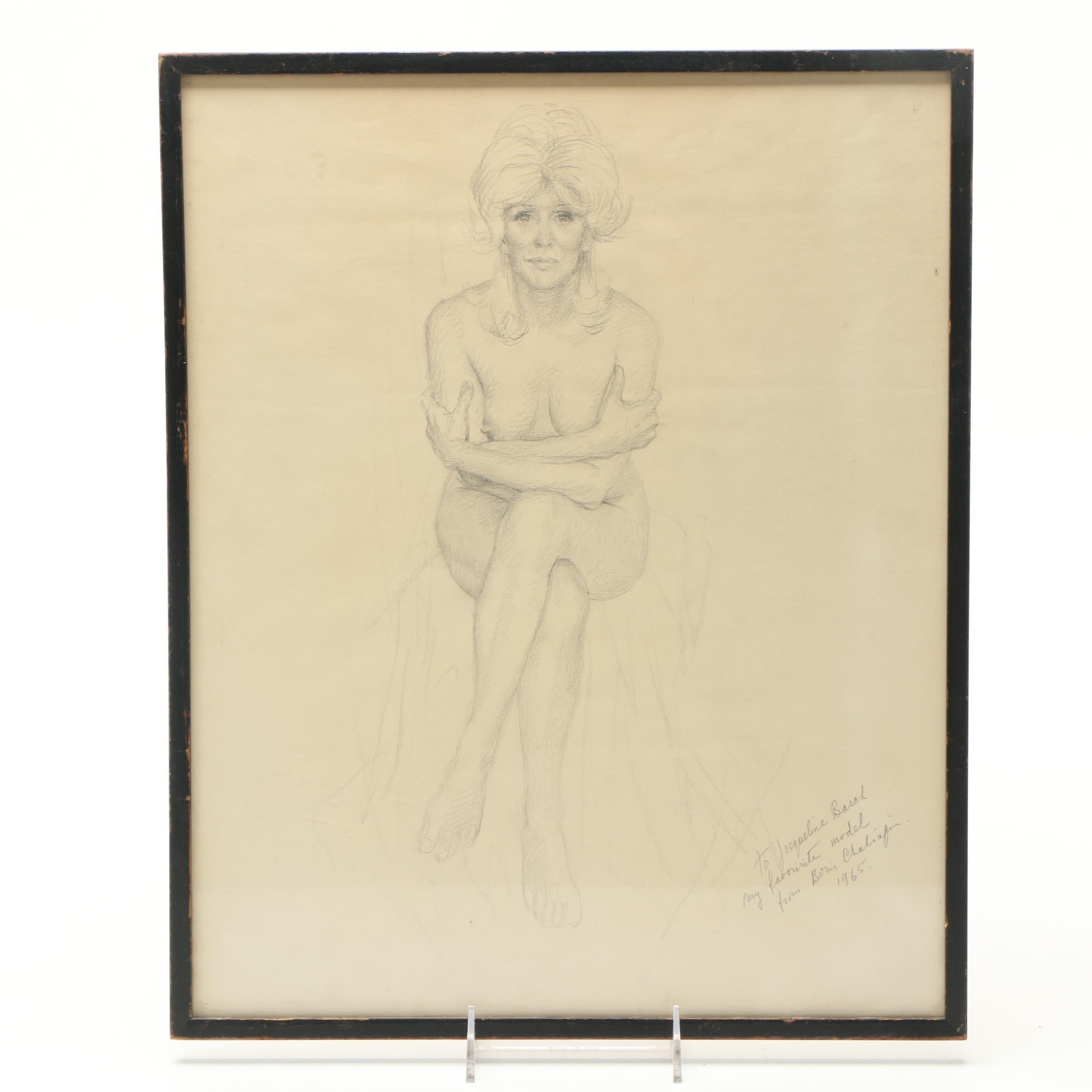 Boris Chaliapin Graphite Drawing of Jacqueline Basch