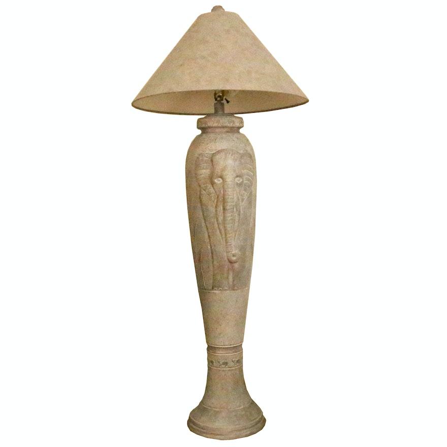Elephant Themed Faux Stone Floor Lamp Ebth