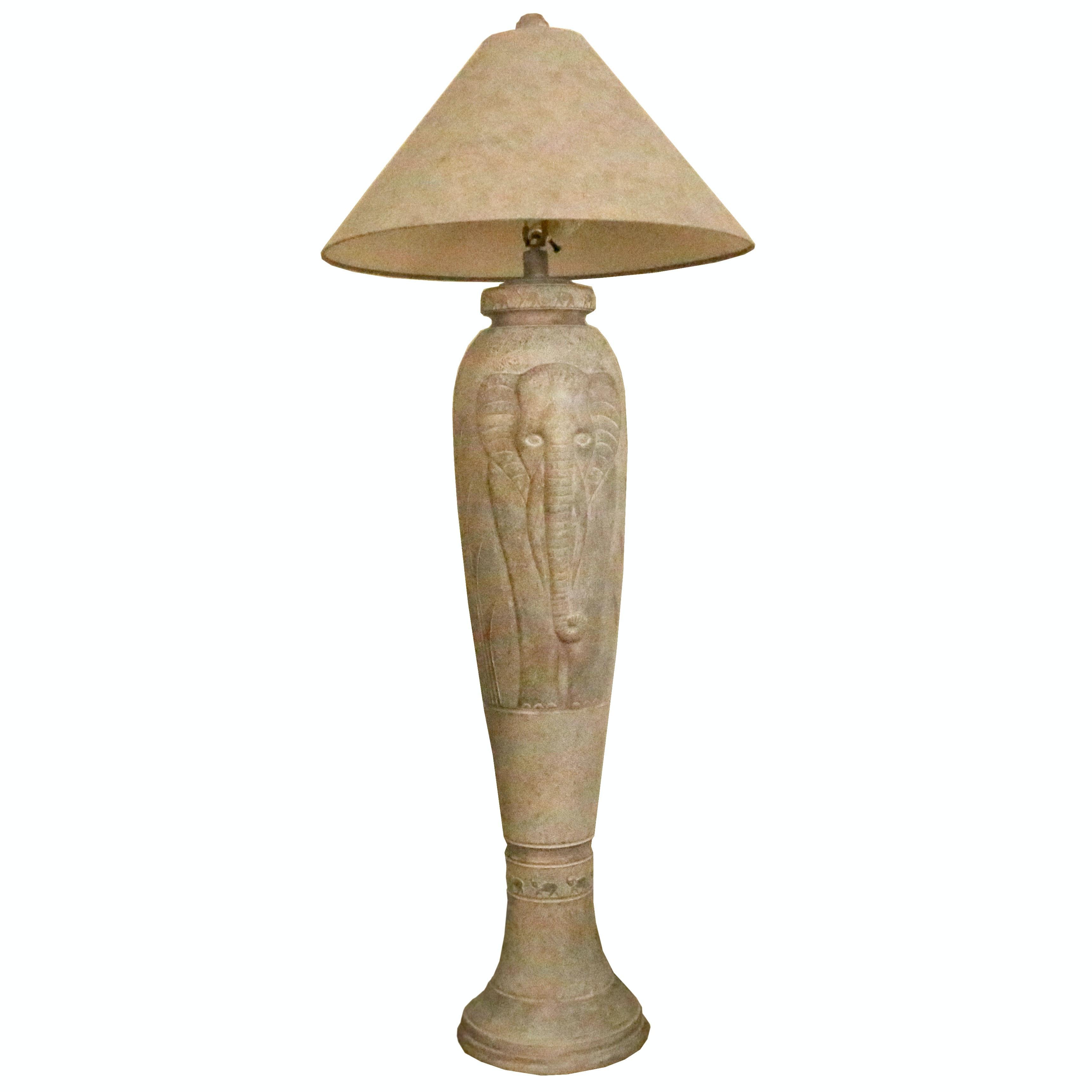Lovely Elephant Themed Faux Stone Floor Lamp ...