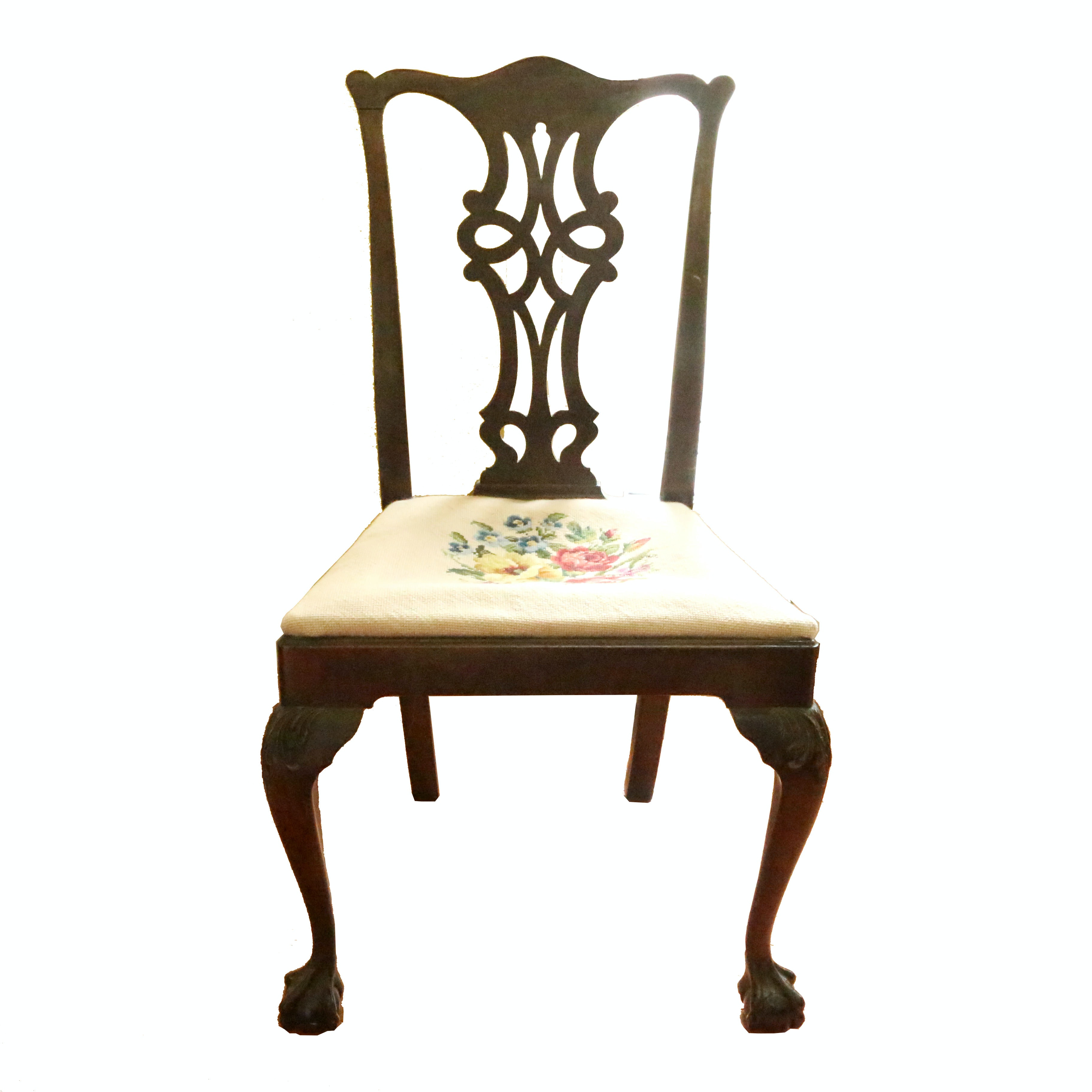 Chippendale Style Side Chair with Embroidered Seat