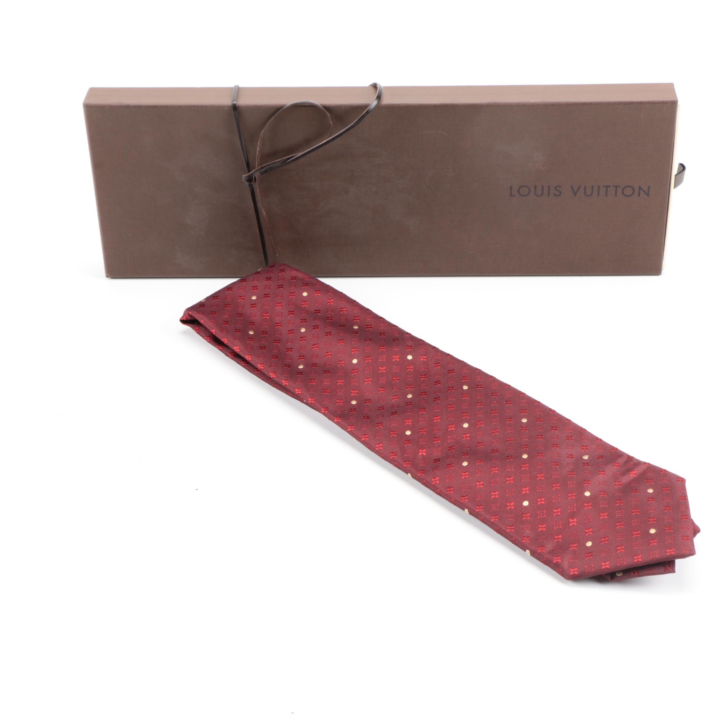 Louis Vuitton Burgundy and Cream Silk Tie