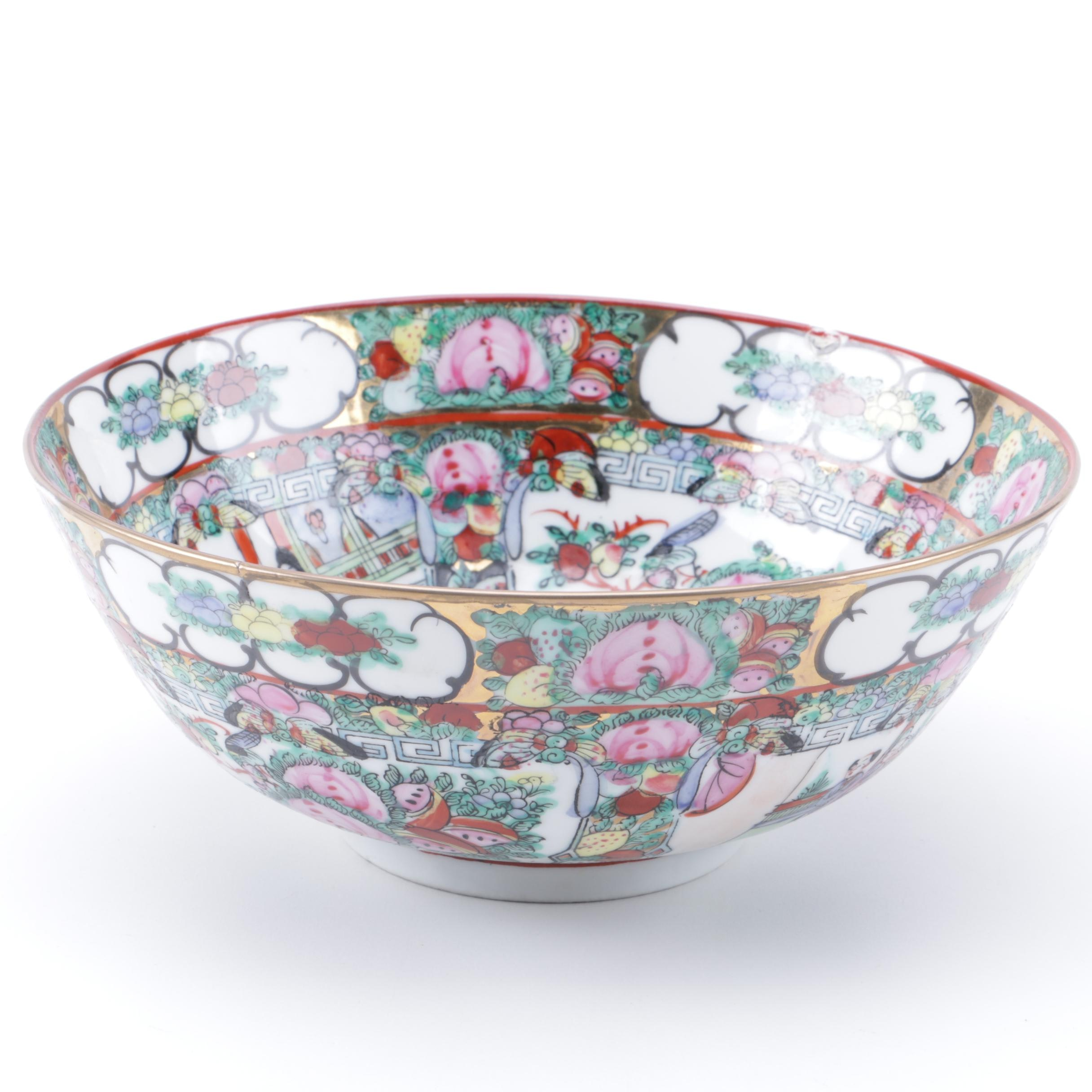 Chinese Hand-Painted Rose Medallion Style Footed Porcelain Bowl