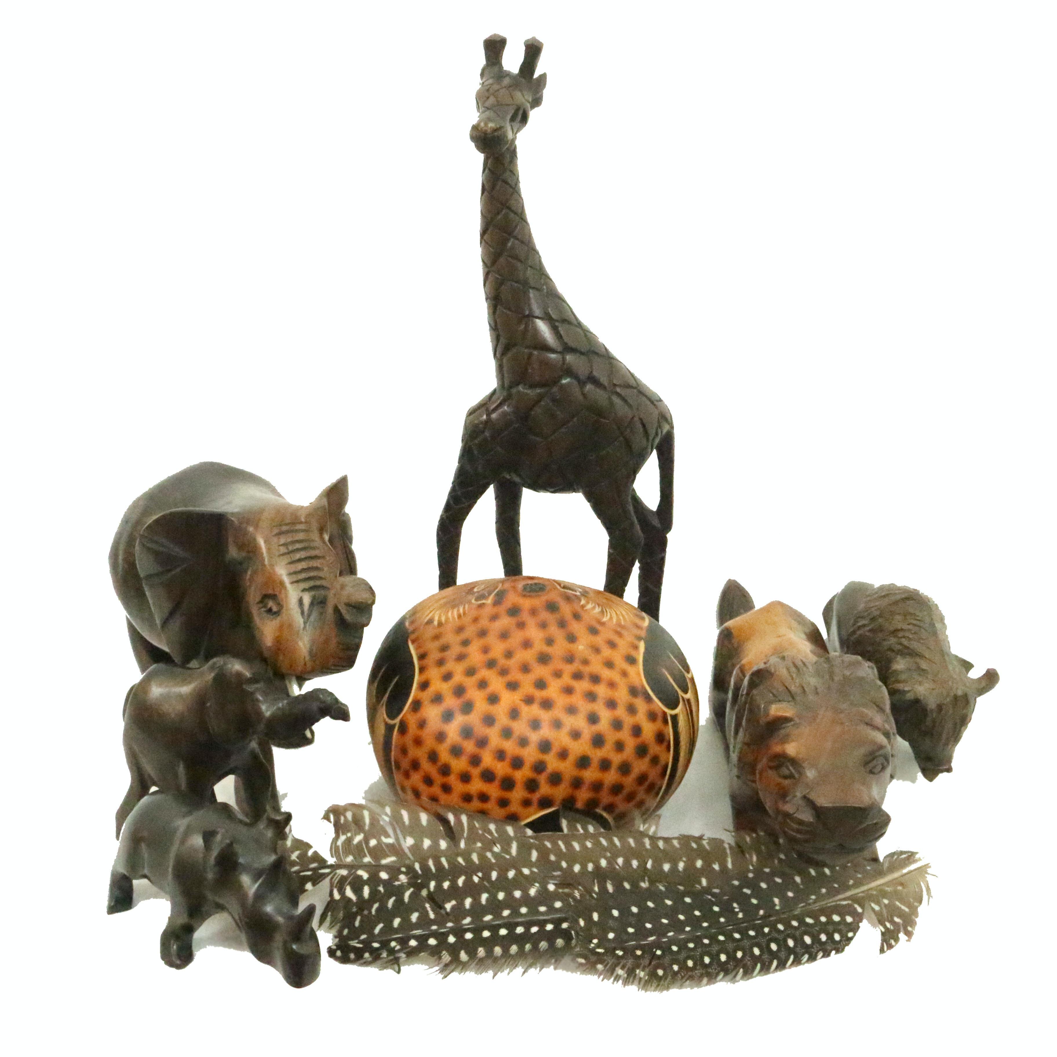 Carved Wood Figural Animals Including Bertha Medina Gourd