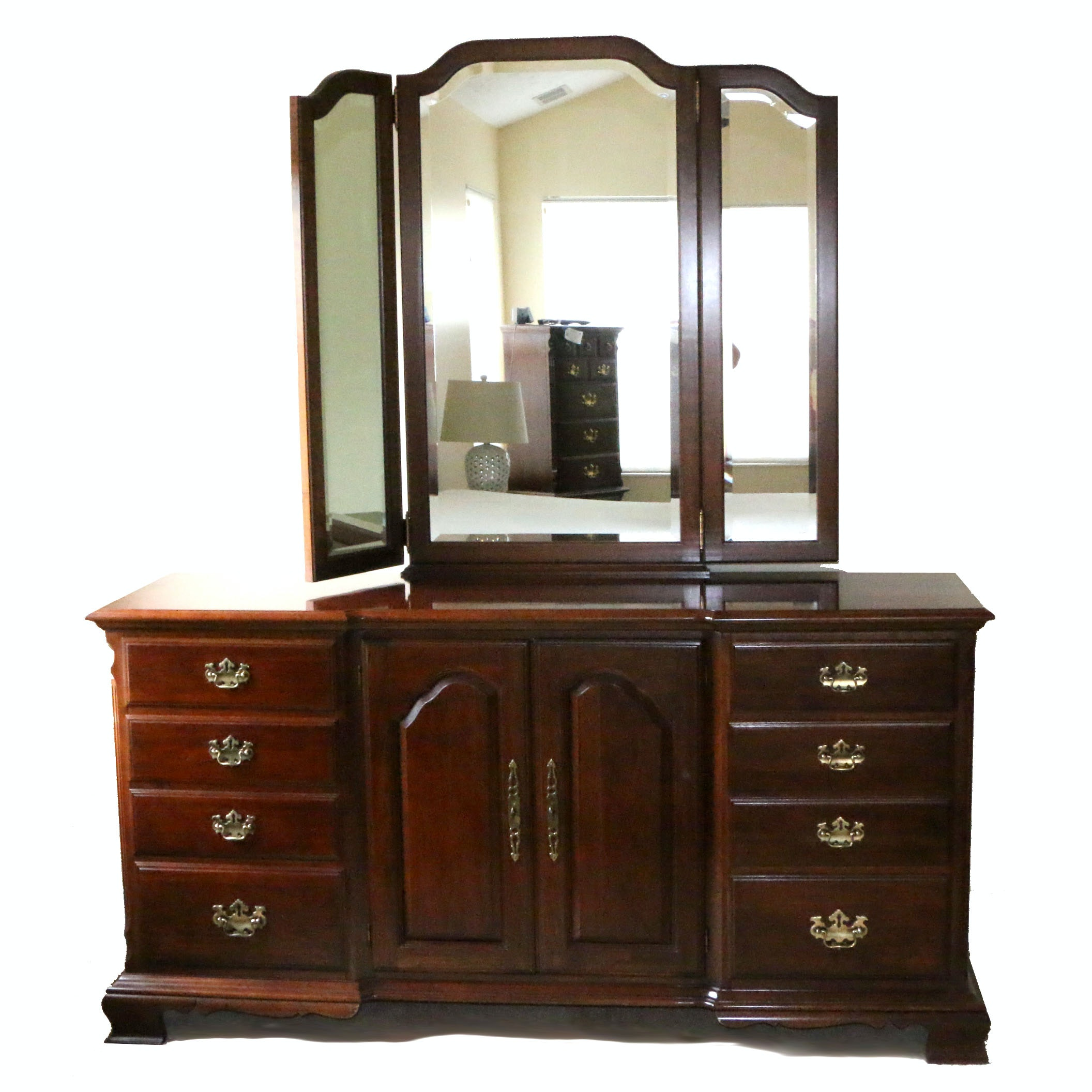 Chippendale Style Cherry Dresser with Mirror by Pennsylvania House