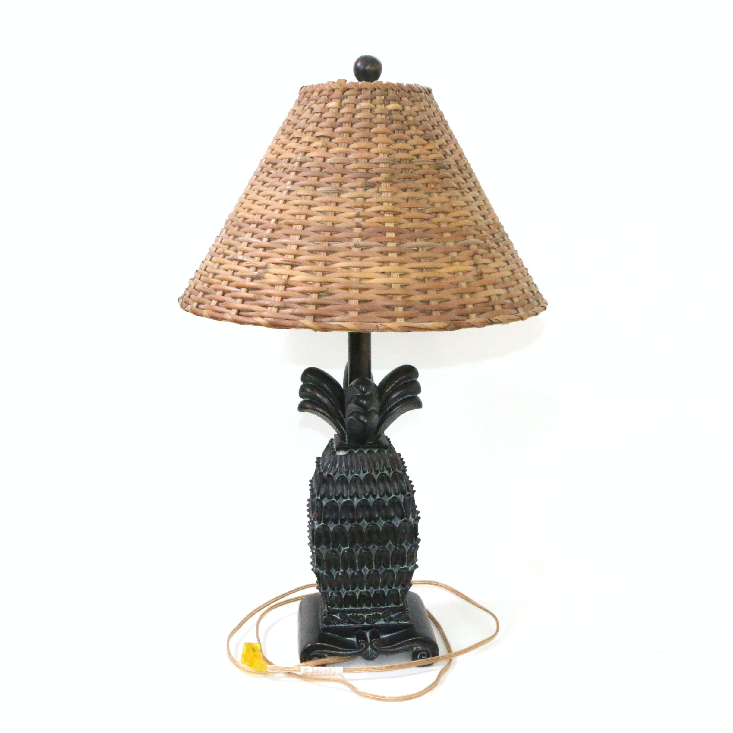 Resin Pineapple Accent Lamp with Wicker Shade