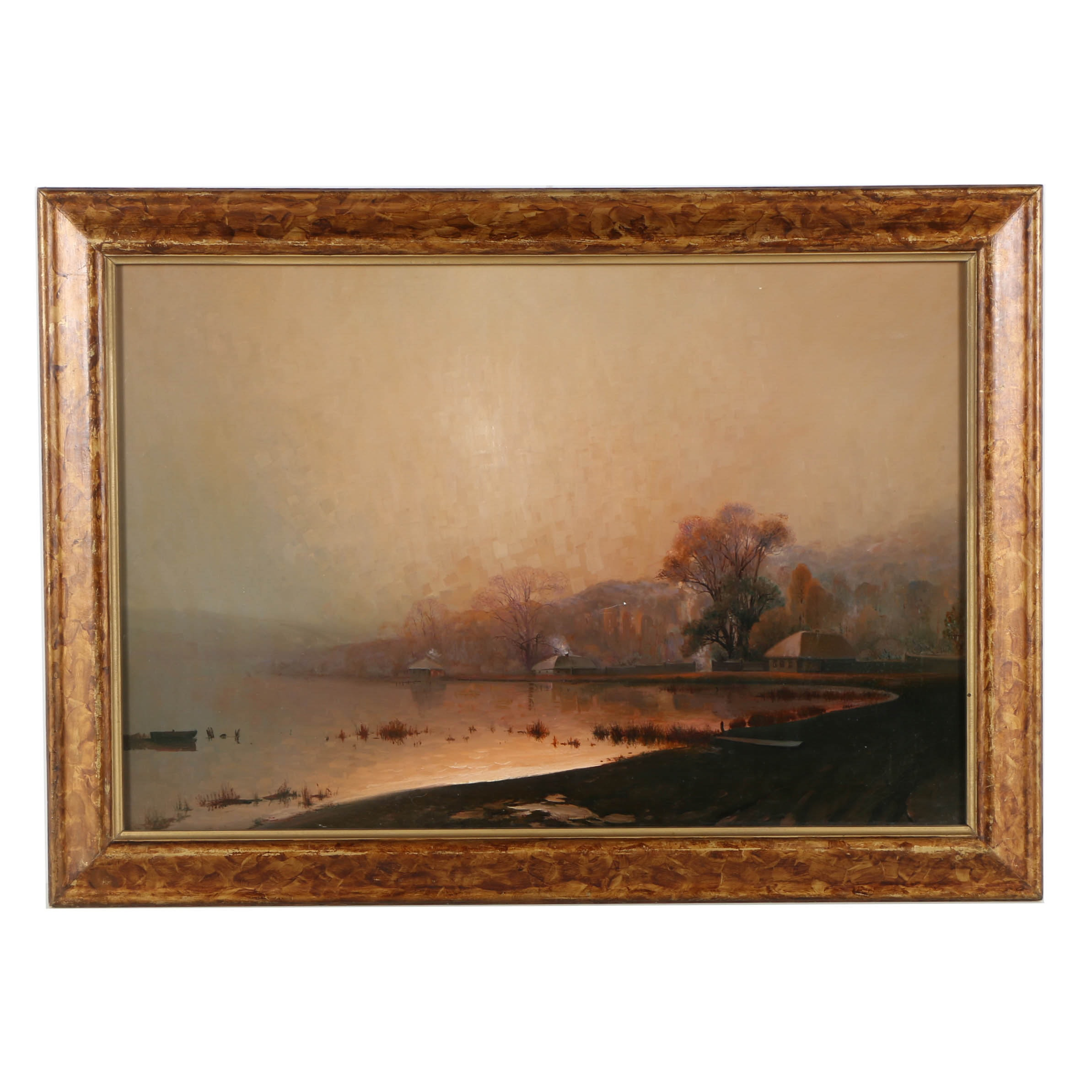 20th Century Oil Painting on Canvas of a Lakeside Landscape