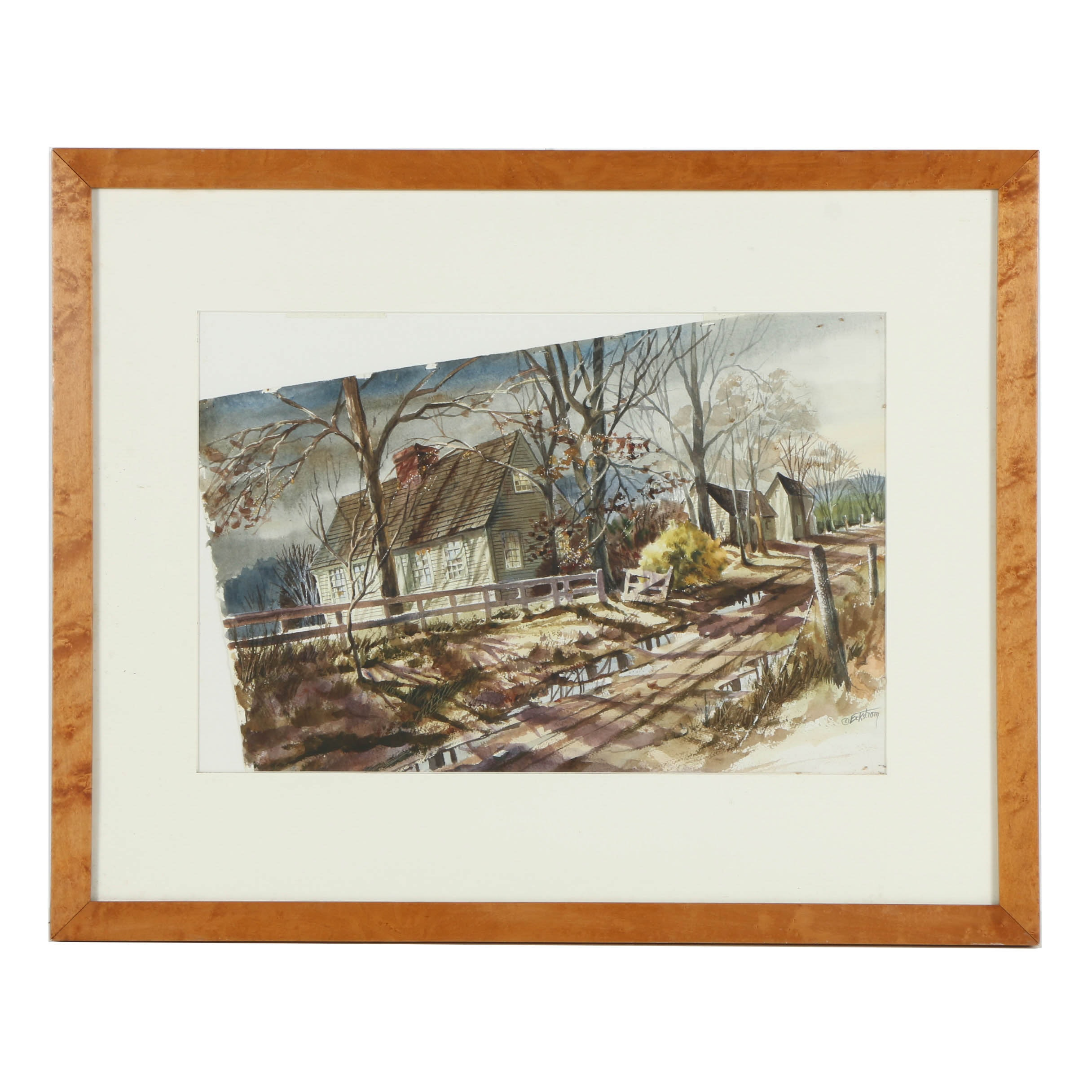 Cynthia Eckstrom Watercolor Painting on Paper Landscape with Farmhouse