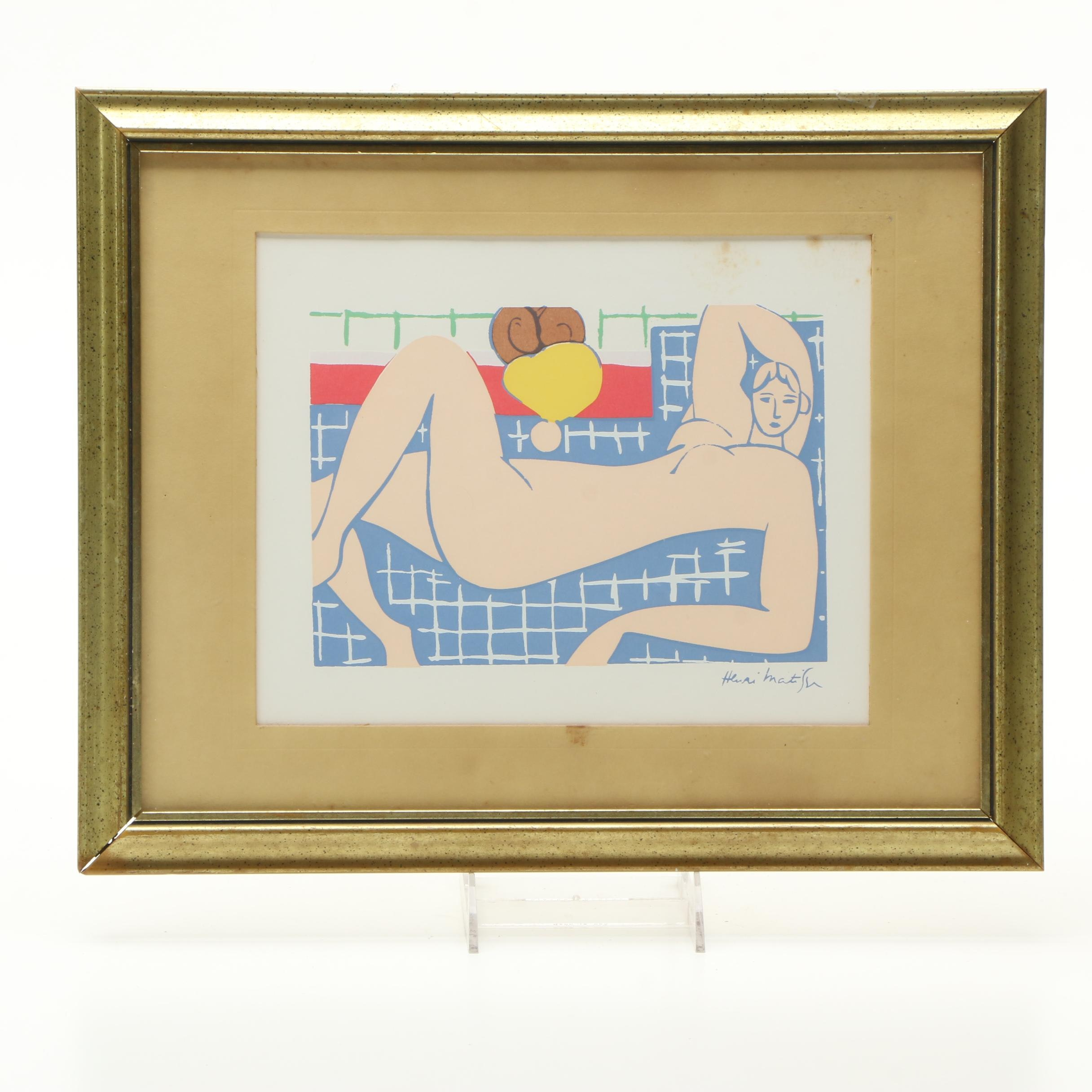 "After Henri Matisse Serigraph on Paper ""Pink Nude"""