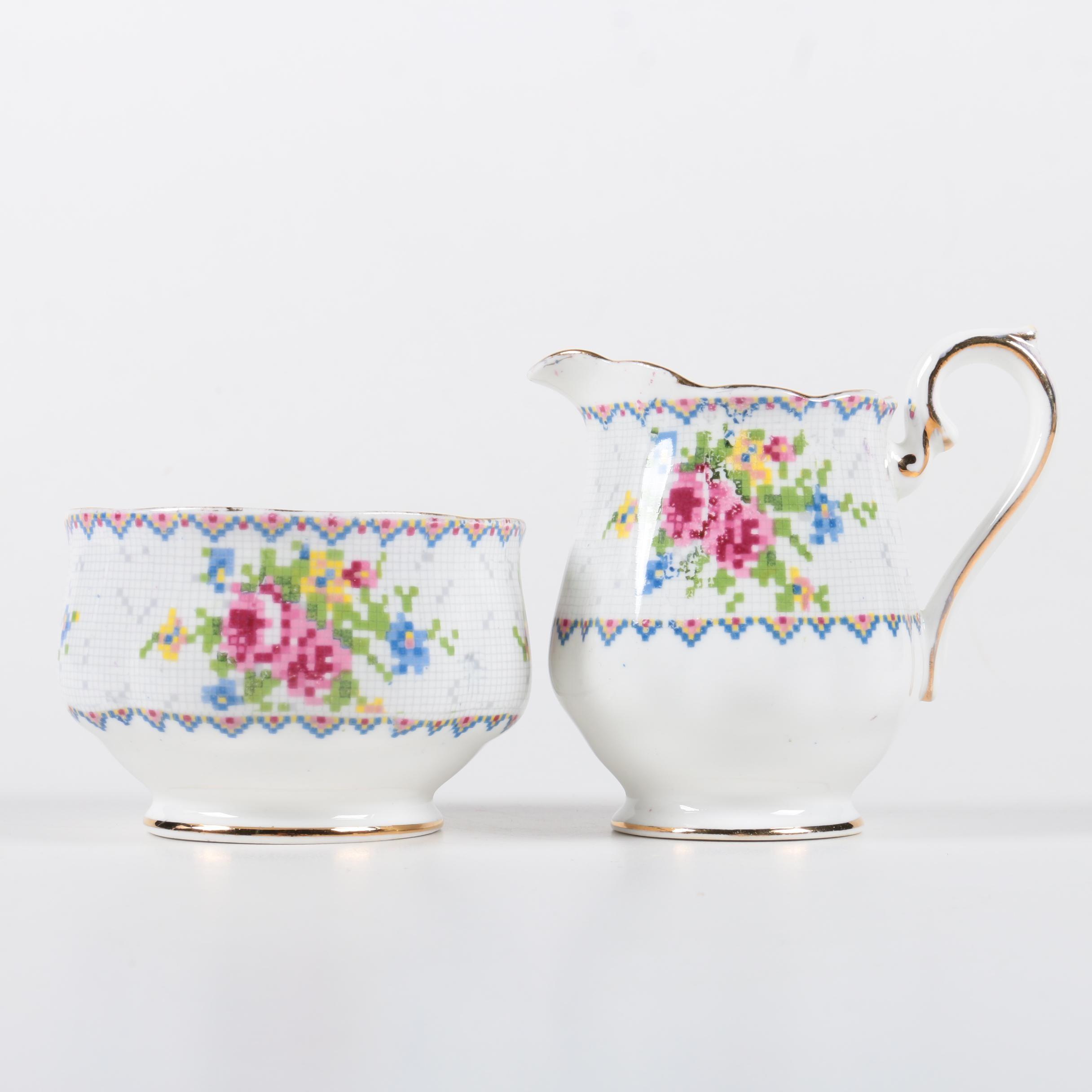 "Royal Albert ""Petit Point"" Bone China Creamer and Sugar Bowl"