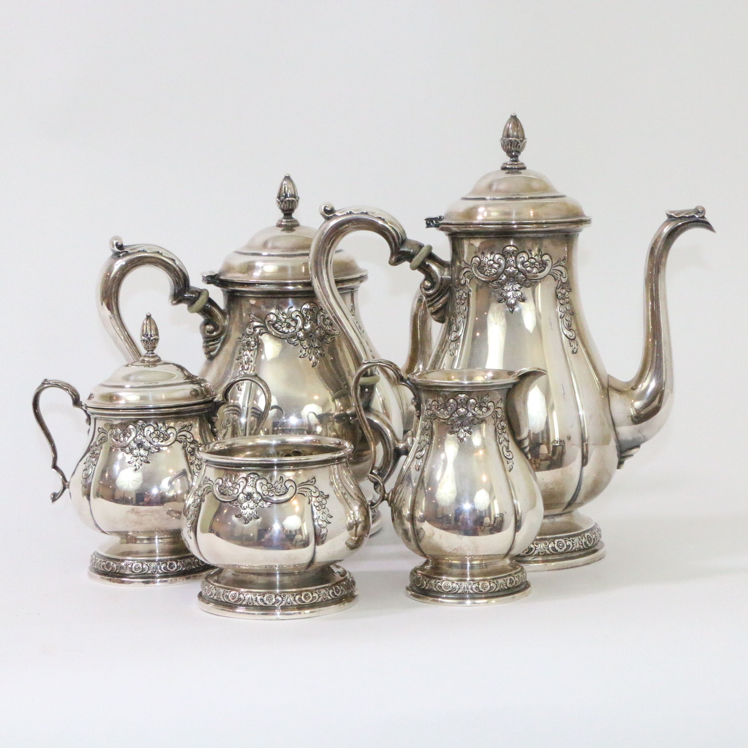 """International Silver Co. """"Prelude"""" Chased Sterling Silver Tea and Coffee Service"""