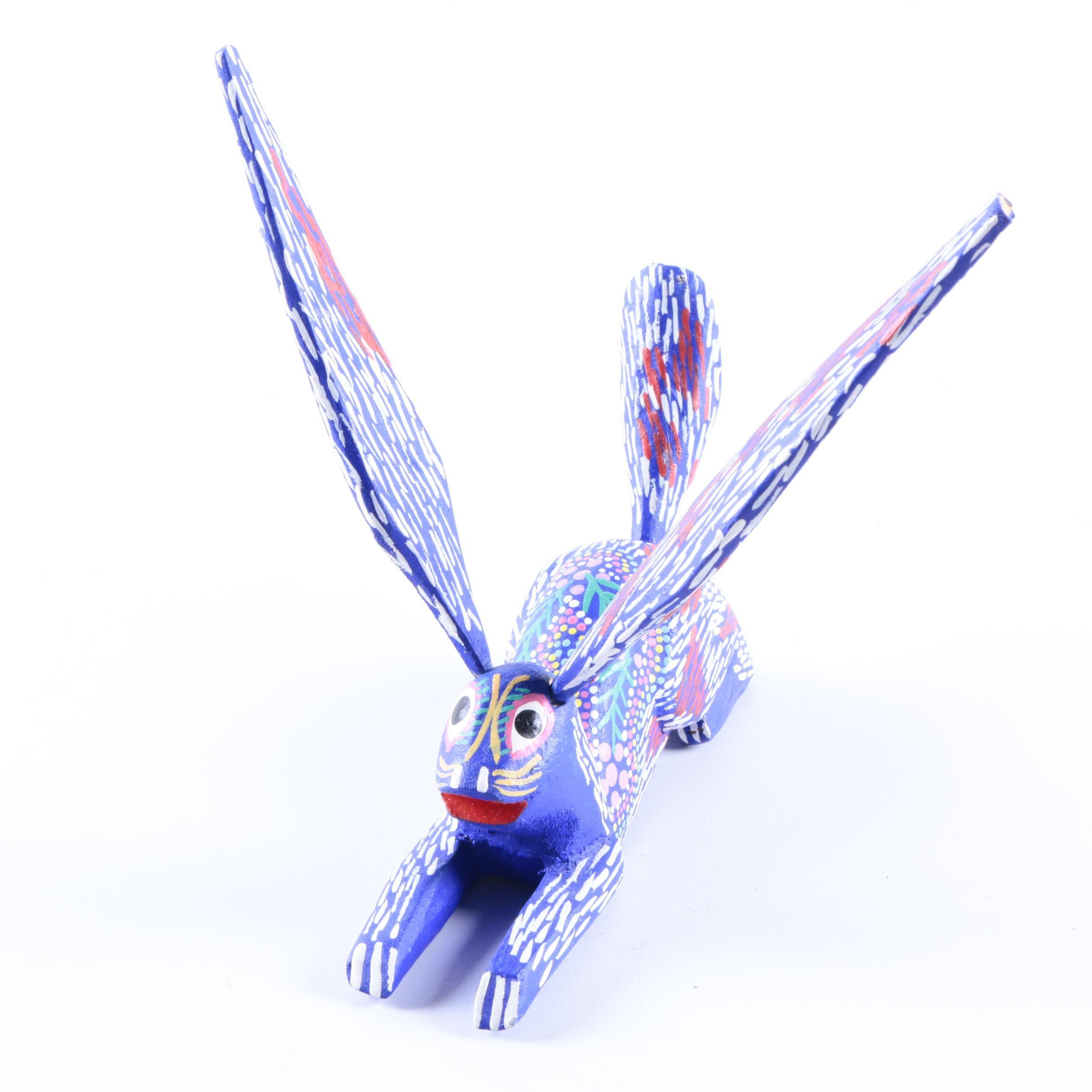 Wood Carved Stylized Rabbit Figurine