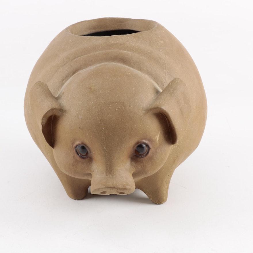 unglazed pottery pig planter ebth