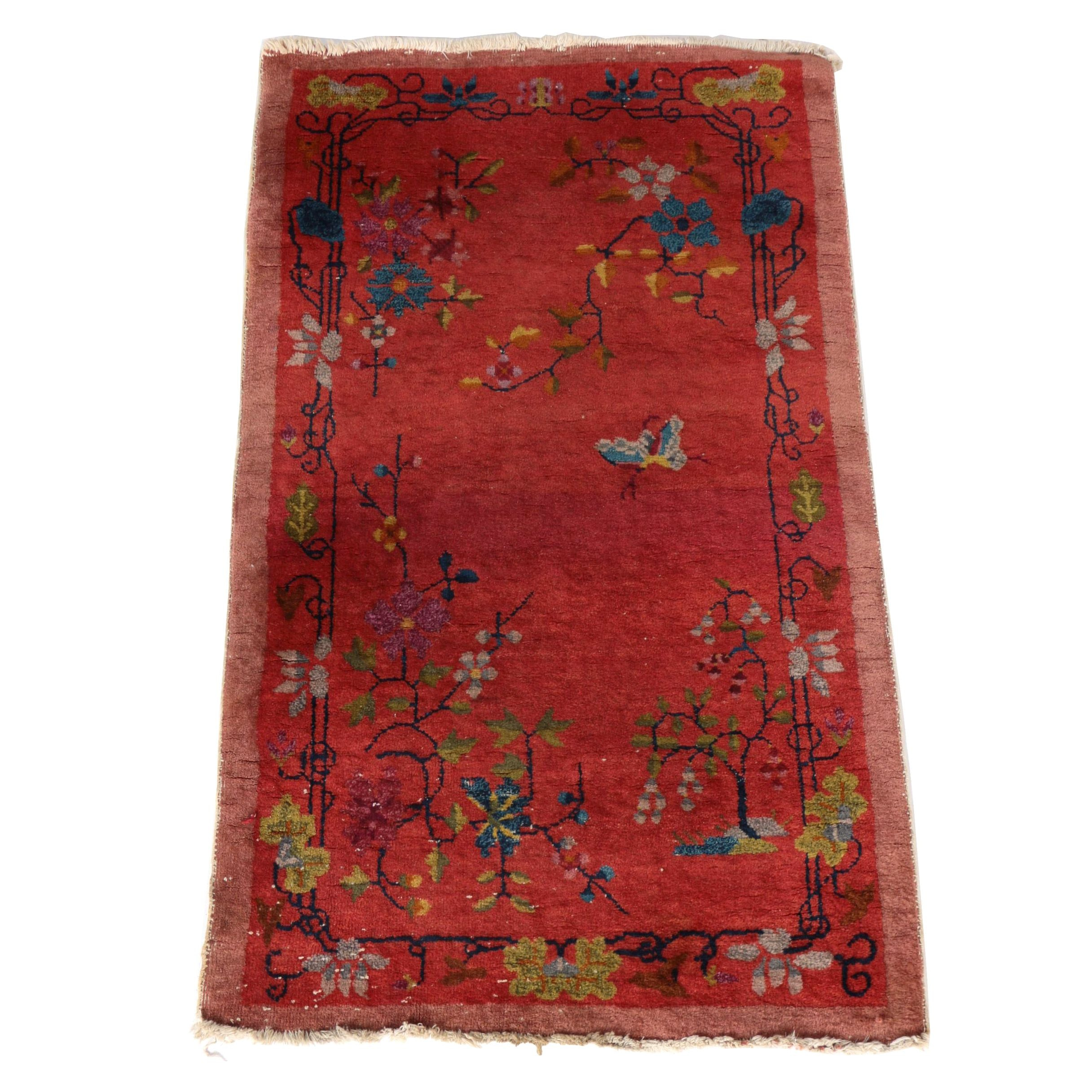 Handwoven Vintage Chinese Nichols Style Wool Area Rug