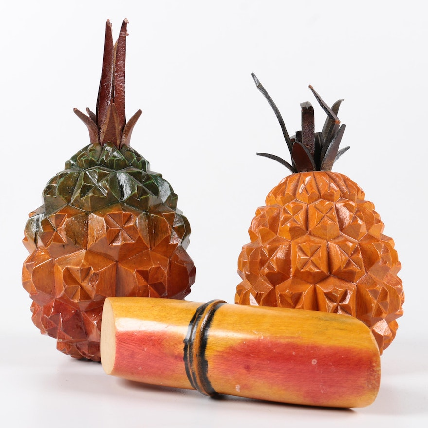 Wooden Pineapples And Bamboo Shoot Decor Ebth