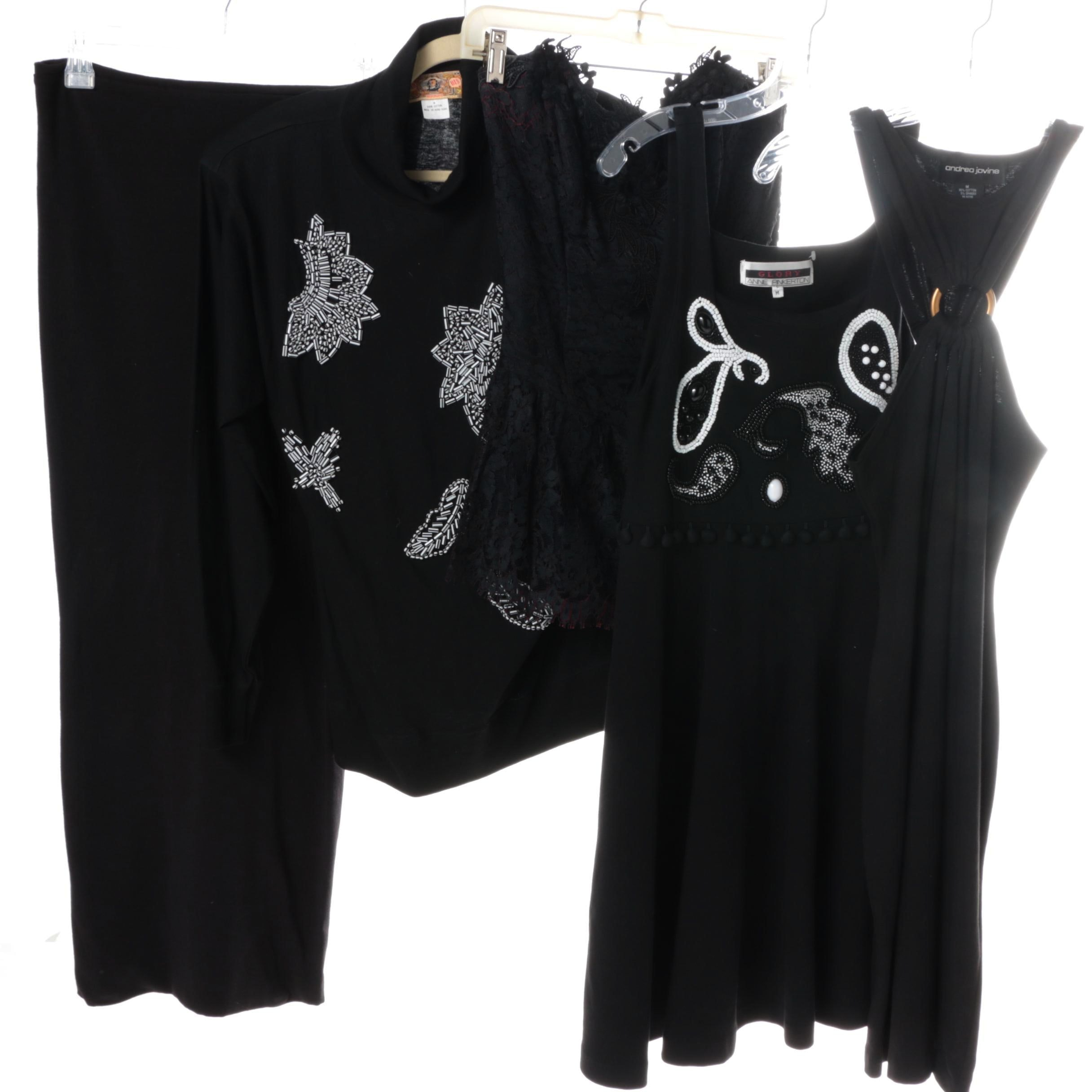 Selection of Women's Black Dresses and Shirt
