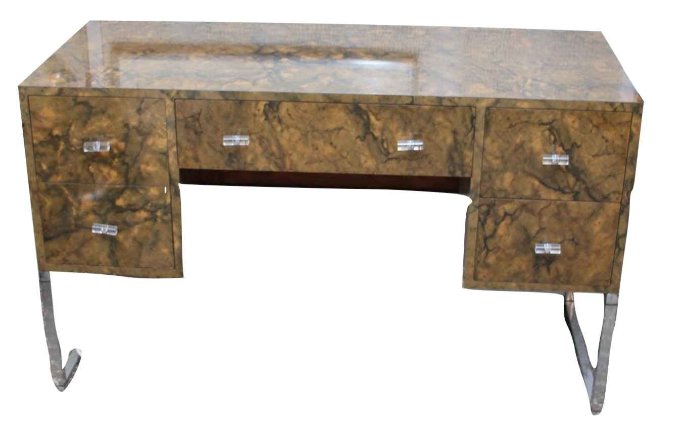 Contemporary Laminated Desk with Chrome Base