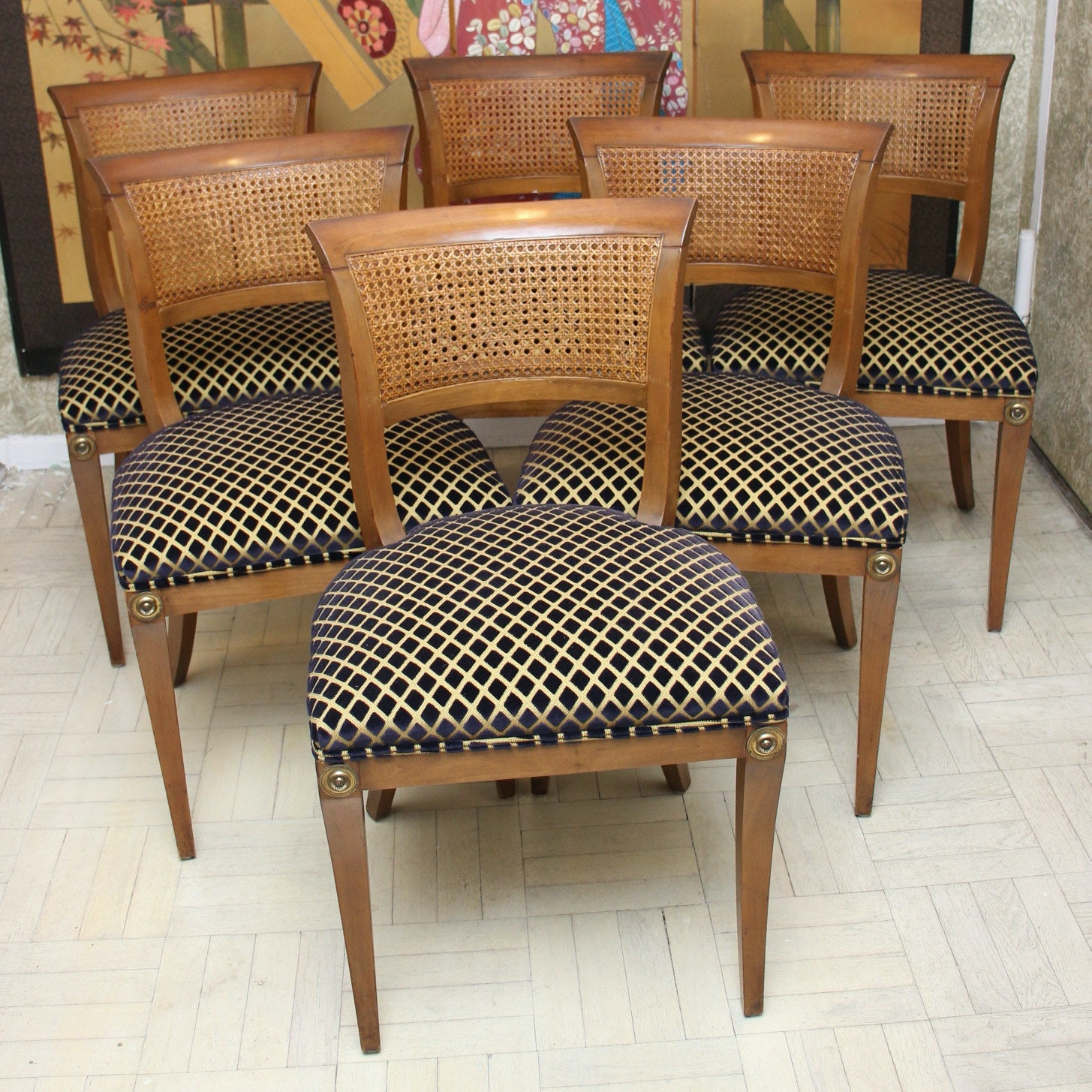 Set of Six Directoire-Style Dining Chairs in Cherry